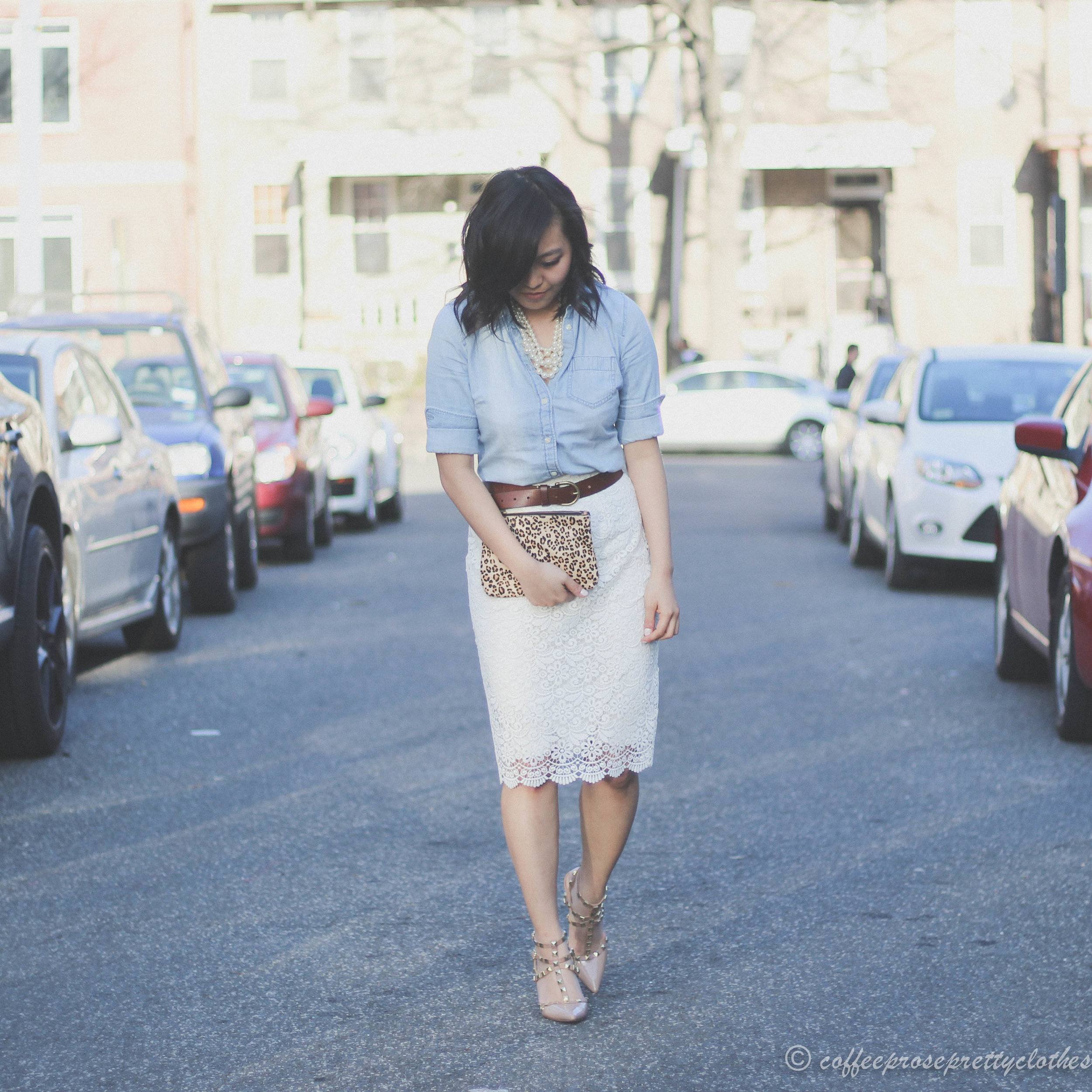 UNIQLO lace skirt, J.Crew Chambray shirt, J.Crew pearl necklace, Sole Society Tiia