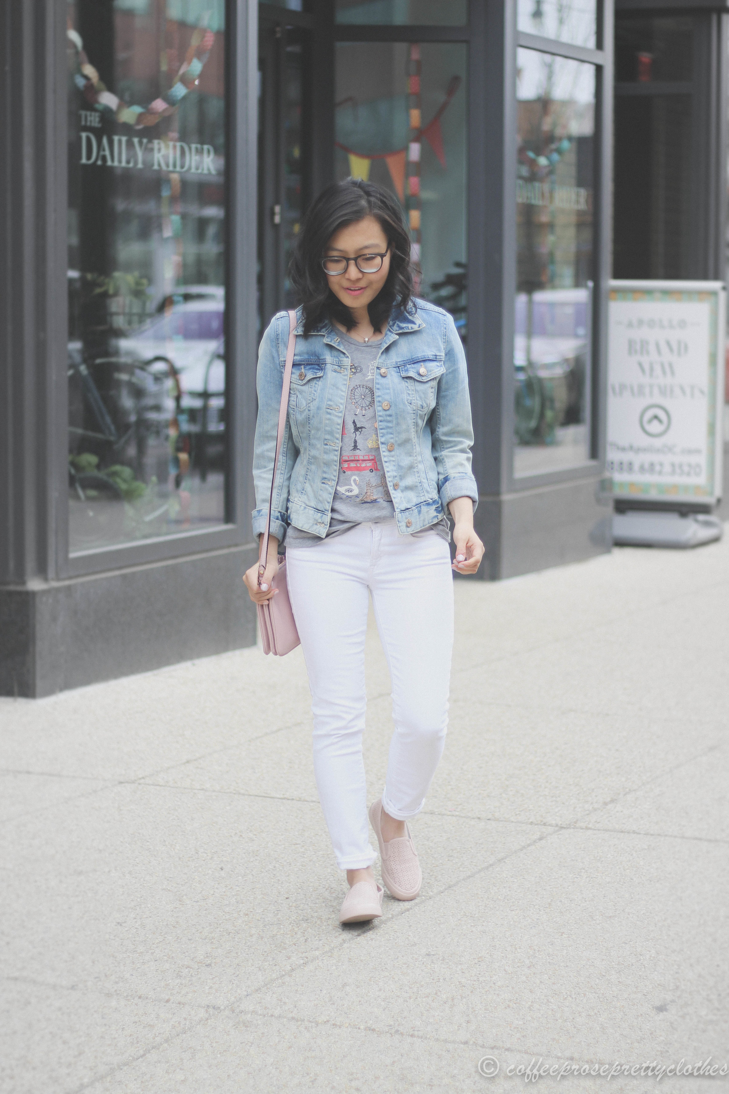 Double Denim | Blush Sneakers and Denim Jacket