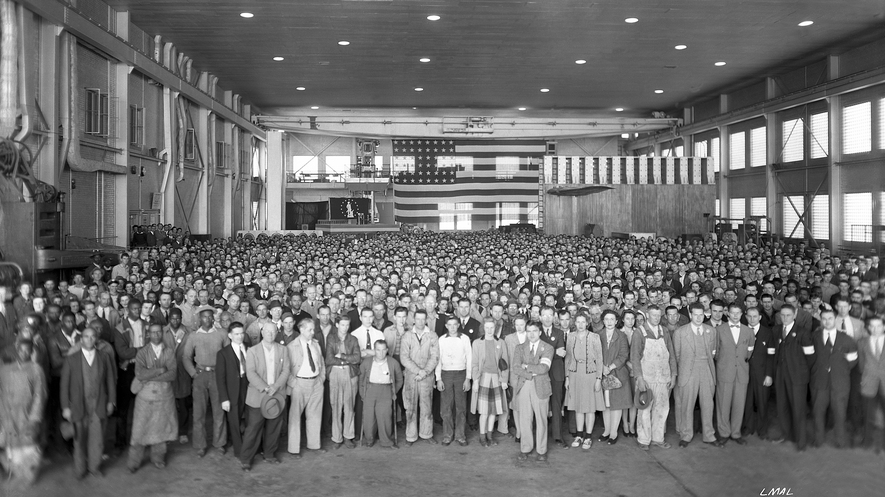 NACA Langley Memorial Aeronautical Laboratory (now NASA Langley Research Center) on November 4, 1943, during a visit by Frank Knox, then secretary of the Navy.