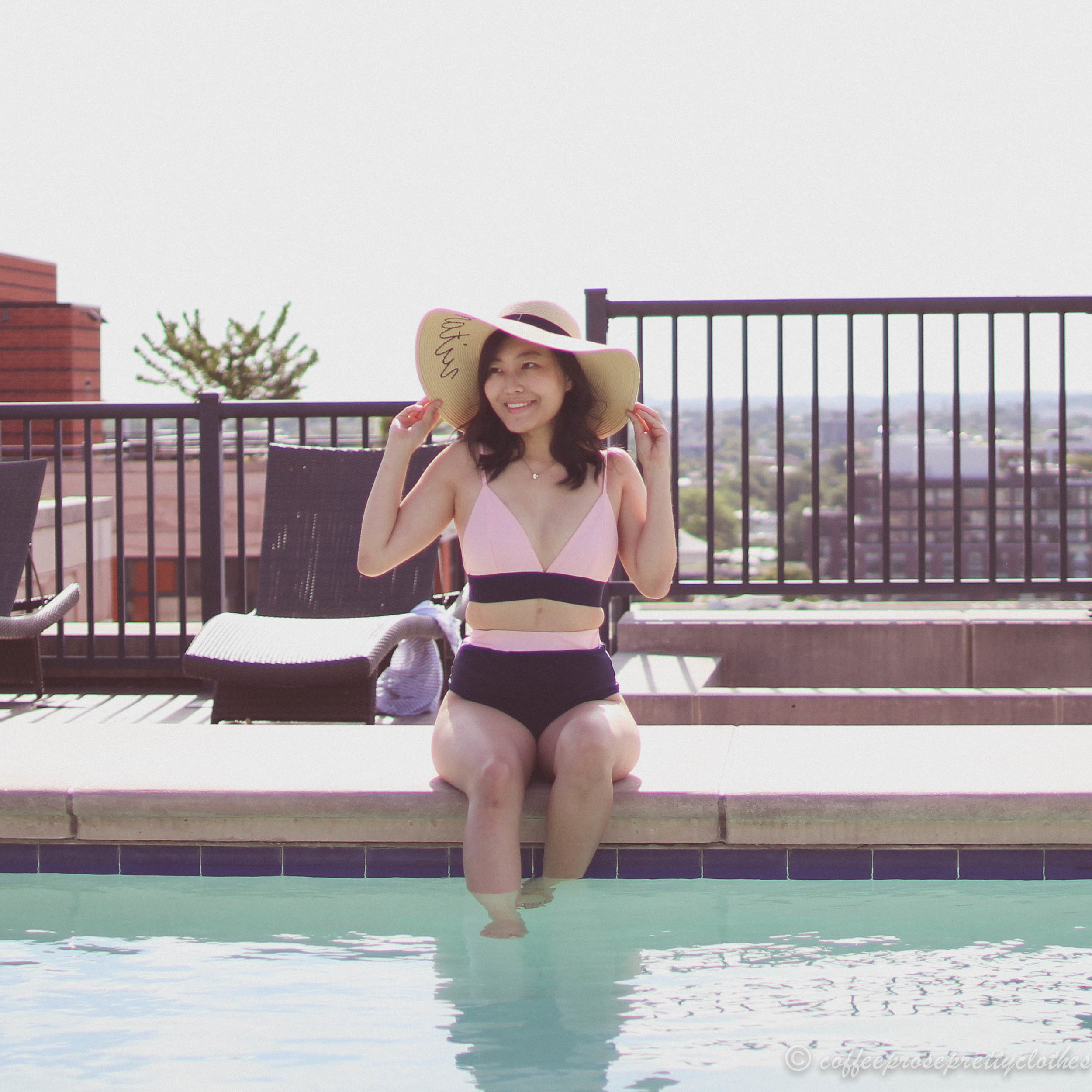 ASOS Pretty Little Thing Swimsuit and J.Crew Straw hat