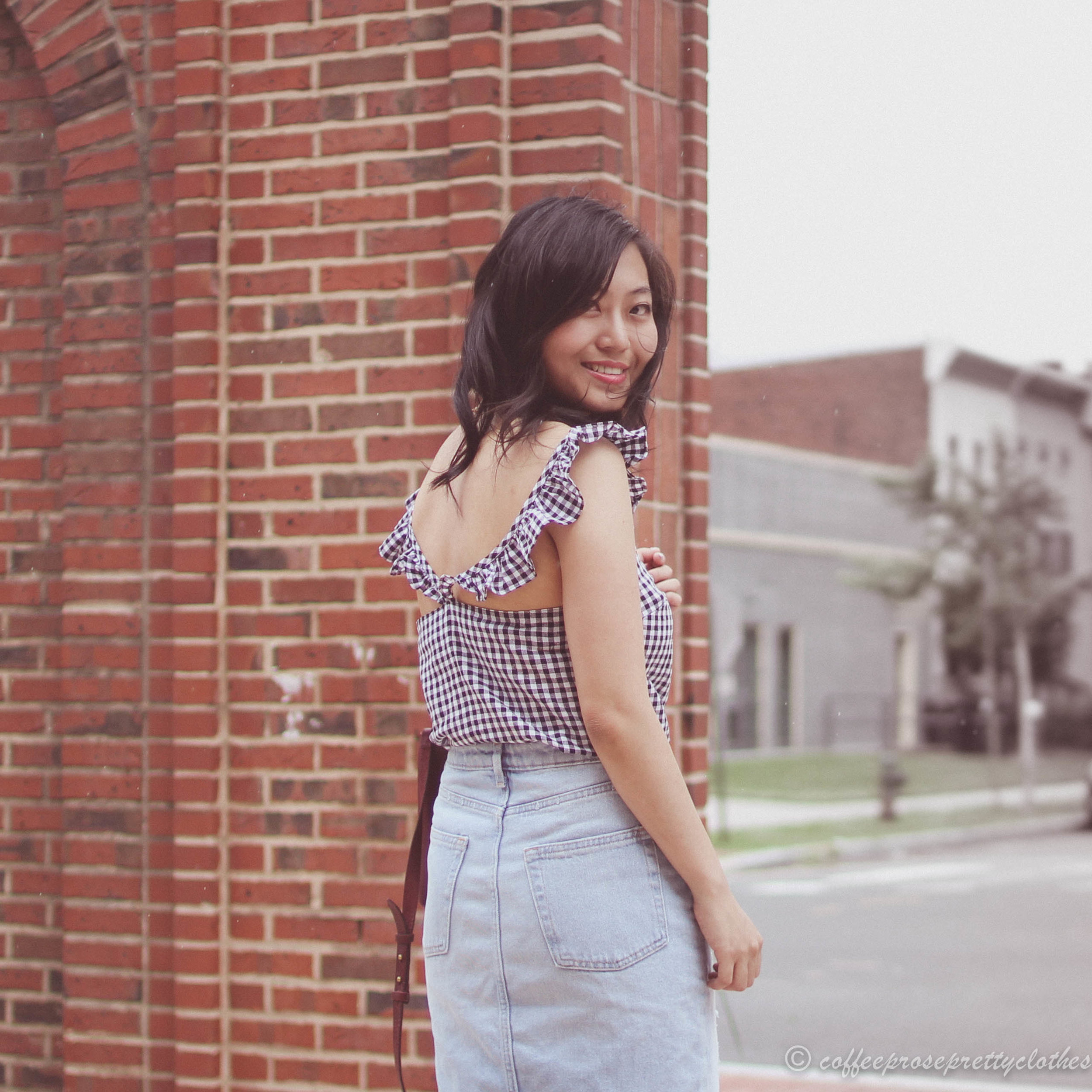 Madewell Gingham Ruffle Cami and Denim Skirt