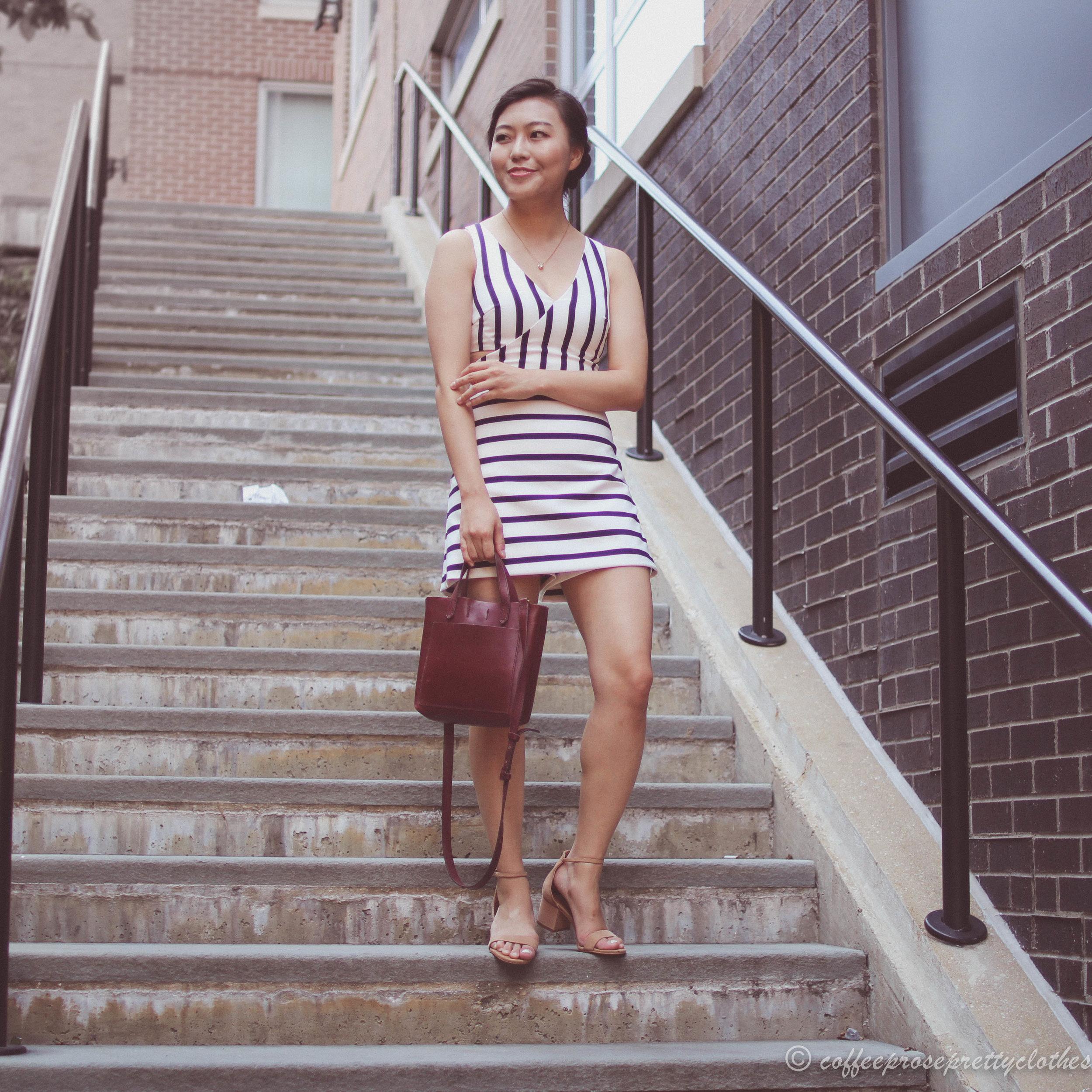 Striped Romper and Burgundy Bag
