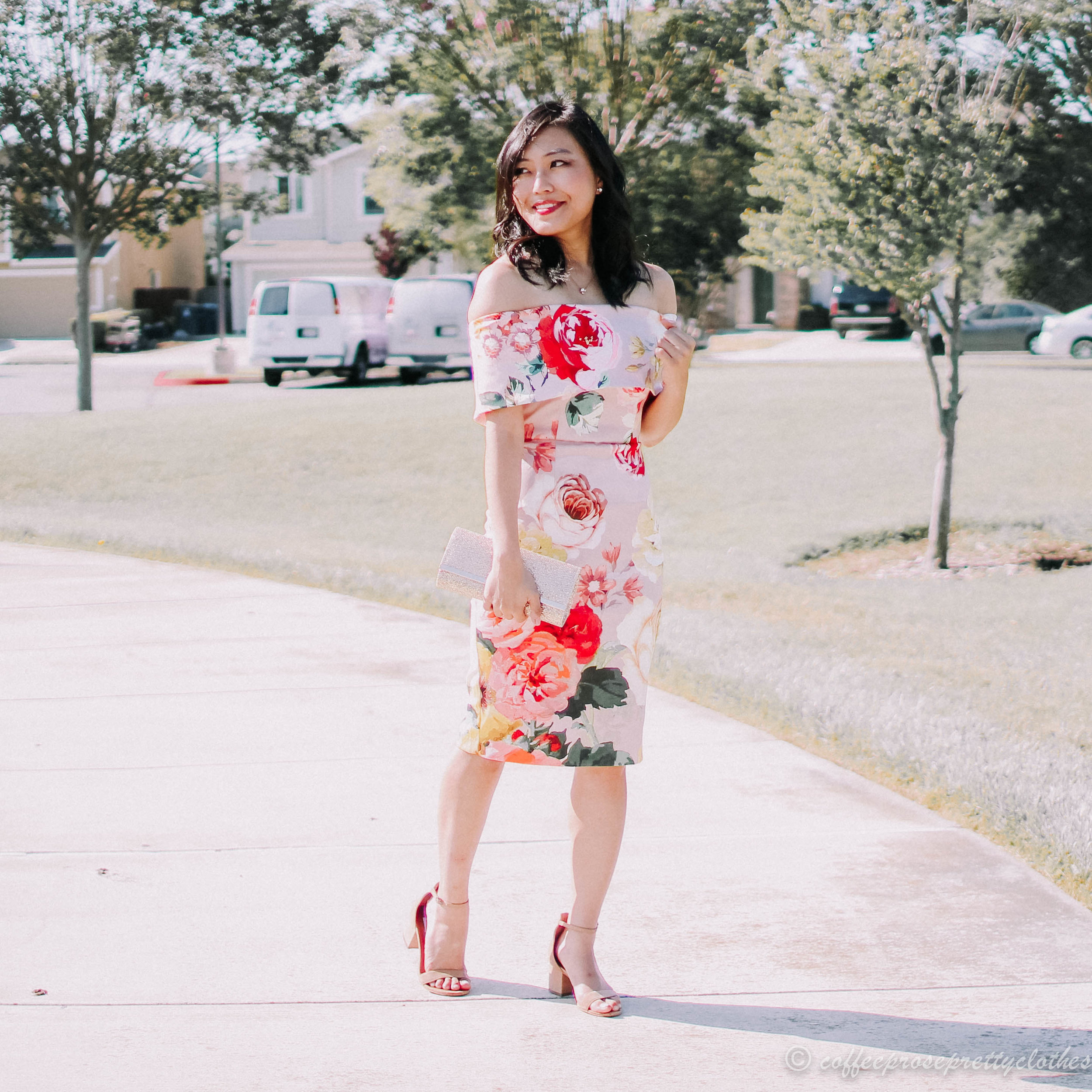 Floral Dress and Block Heels