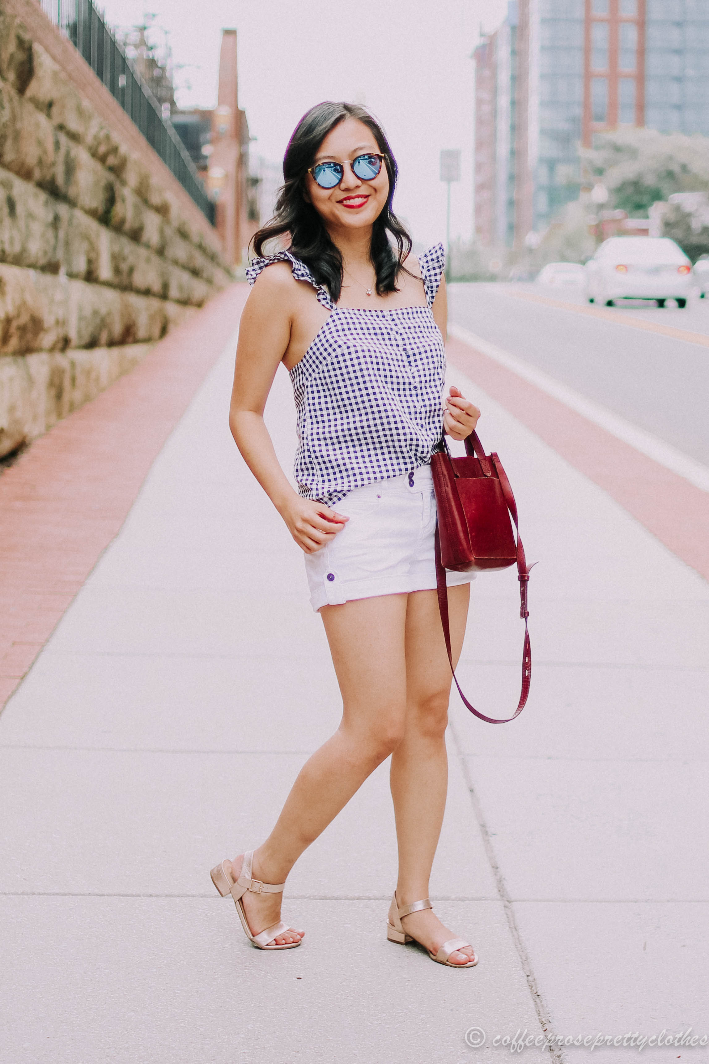 gingham ruffle strap cami from madewell and white shorts