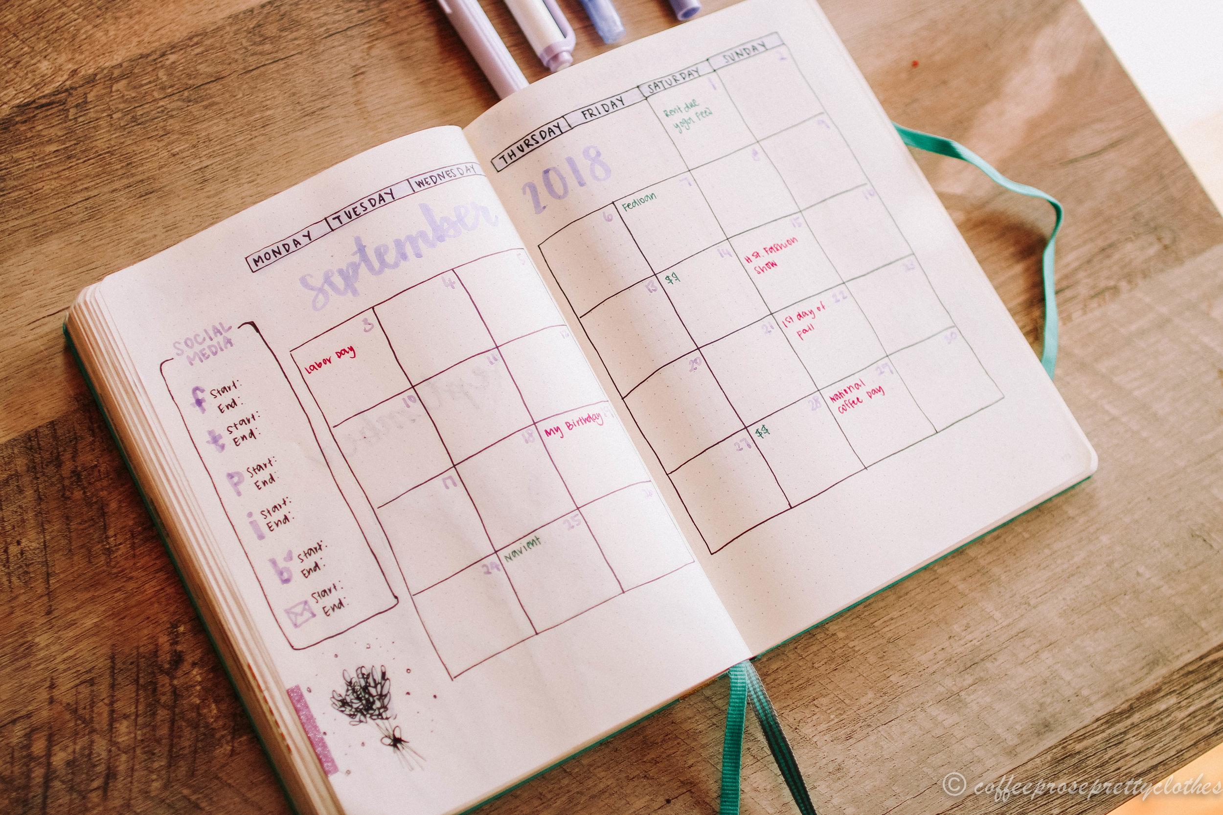 Lavender Theme September Bullet Journal Spread