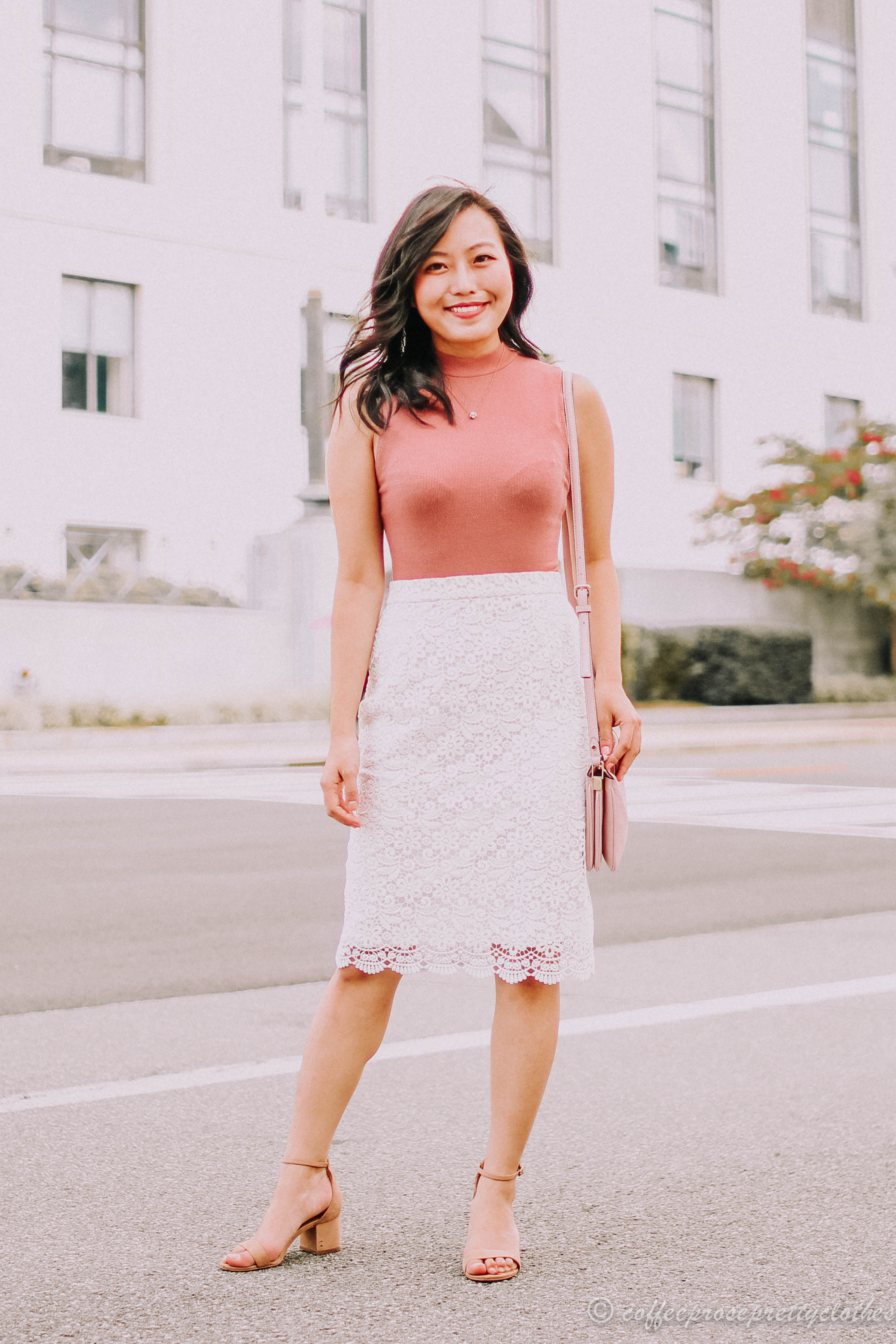 Lace Skirt and Rose Bodysuit