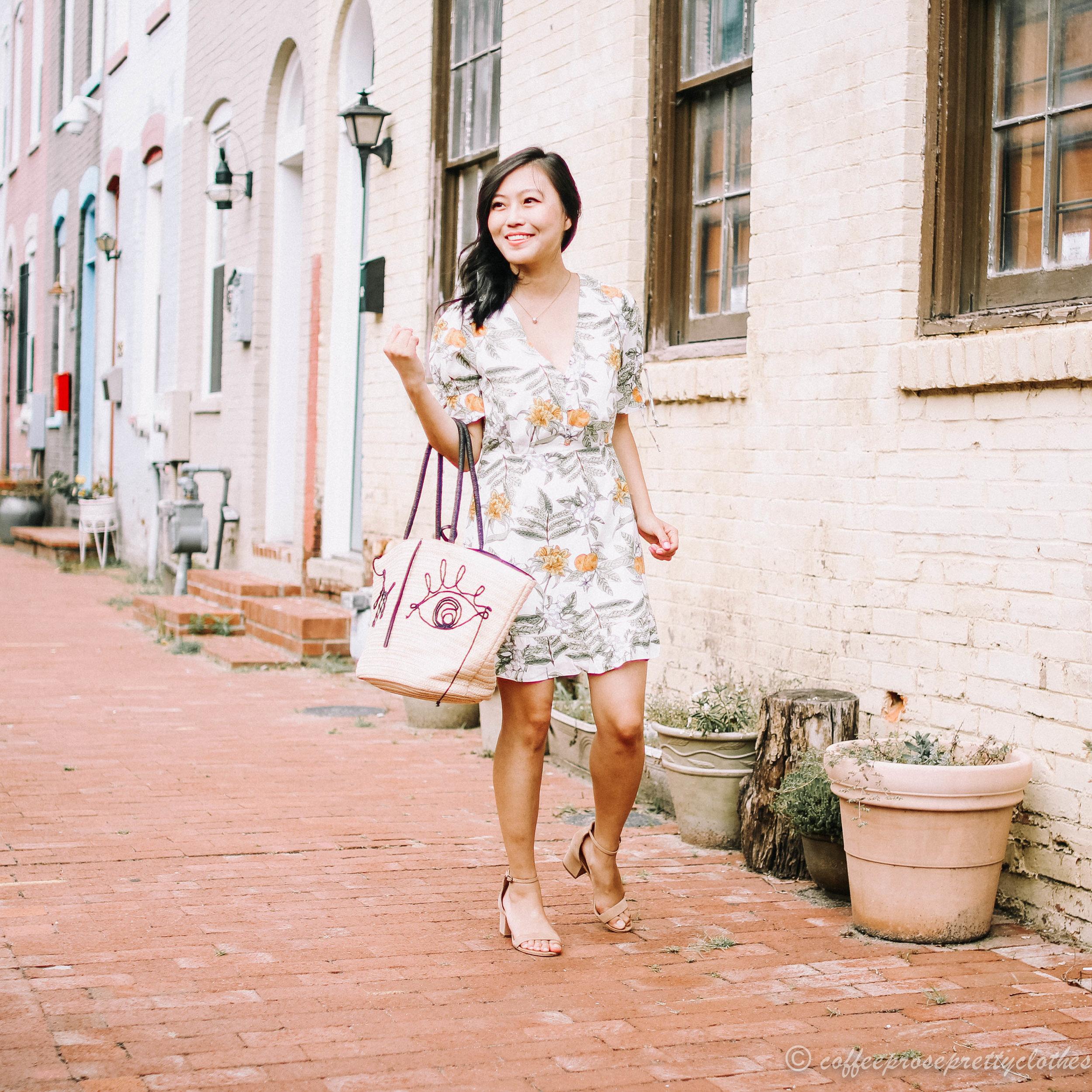 Lemon Dress and Straw Bag