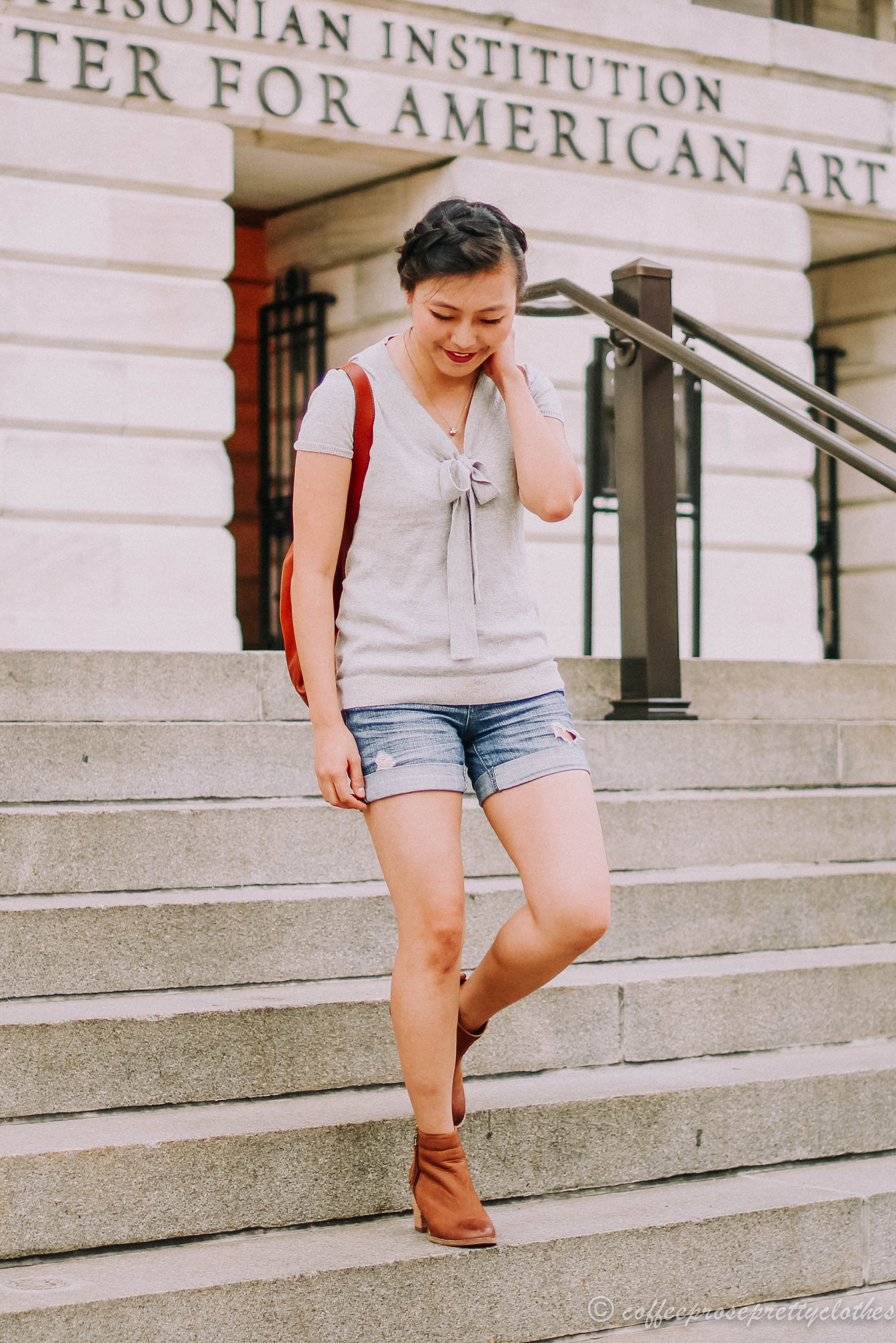 Madewell Transport Rucksack, Blondo waterproof booties, J.Crew Factory sweater, H&M shorts
