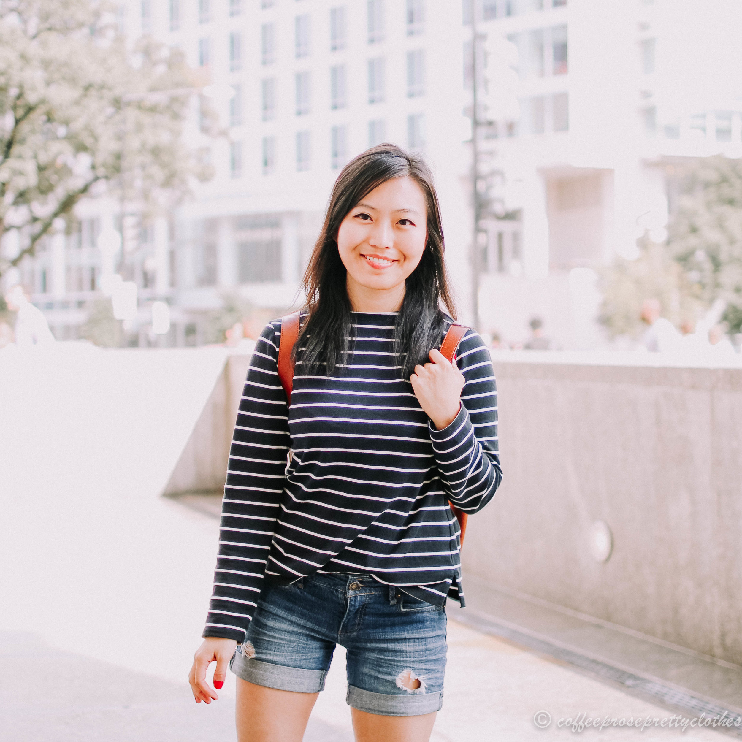 Striped Sweater and Denim Shorts