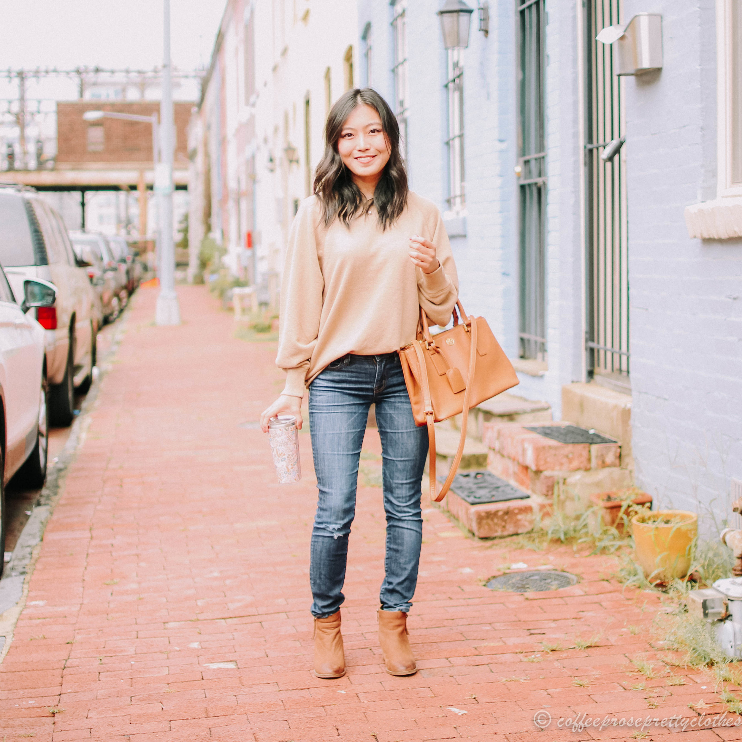 Tan Sweater and Waterproof Booties