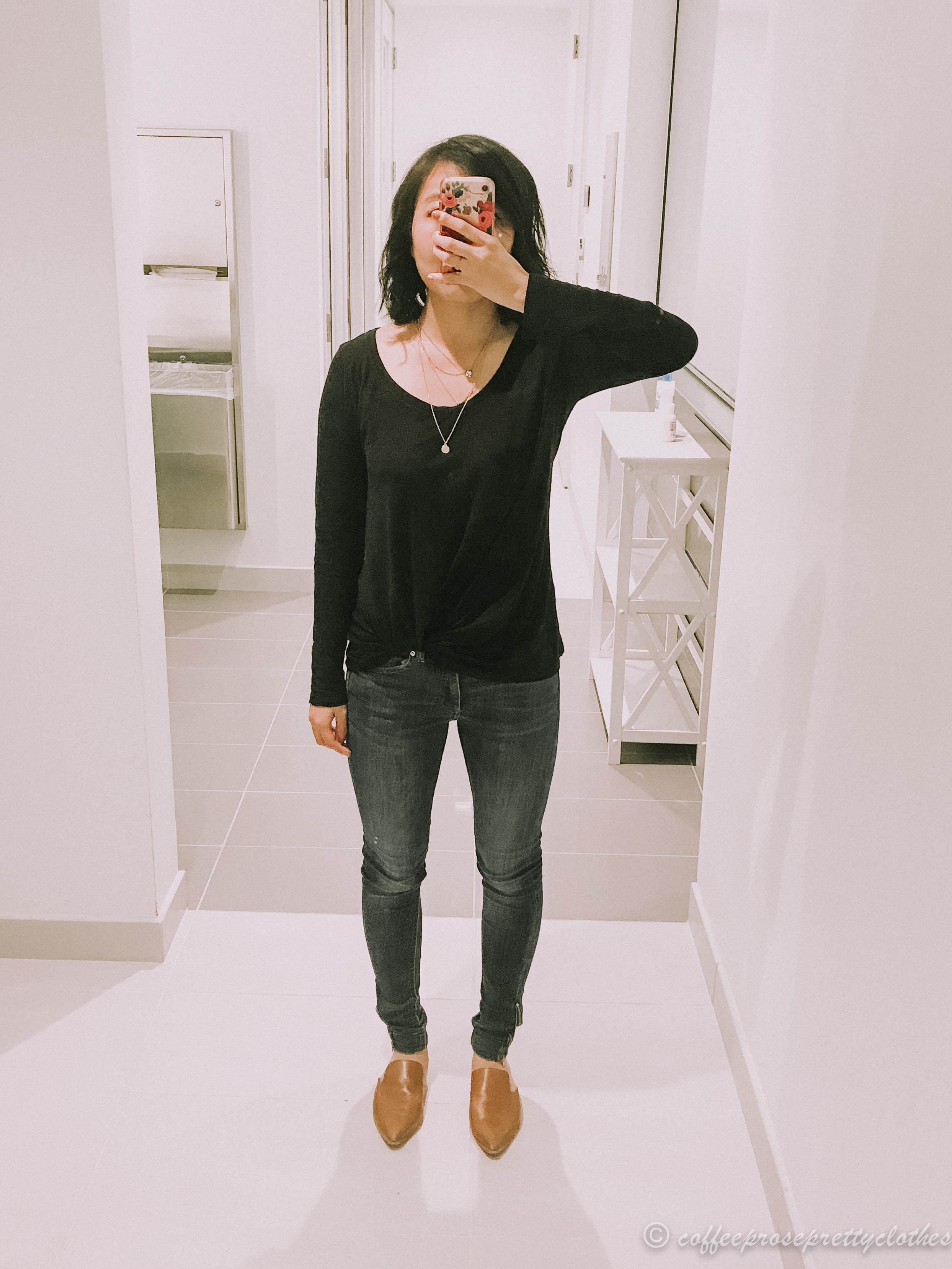 BP twisted front shirt, Madewell Gemma mules