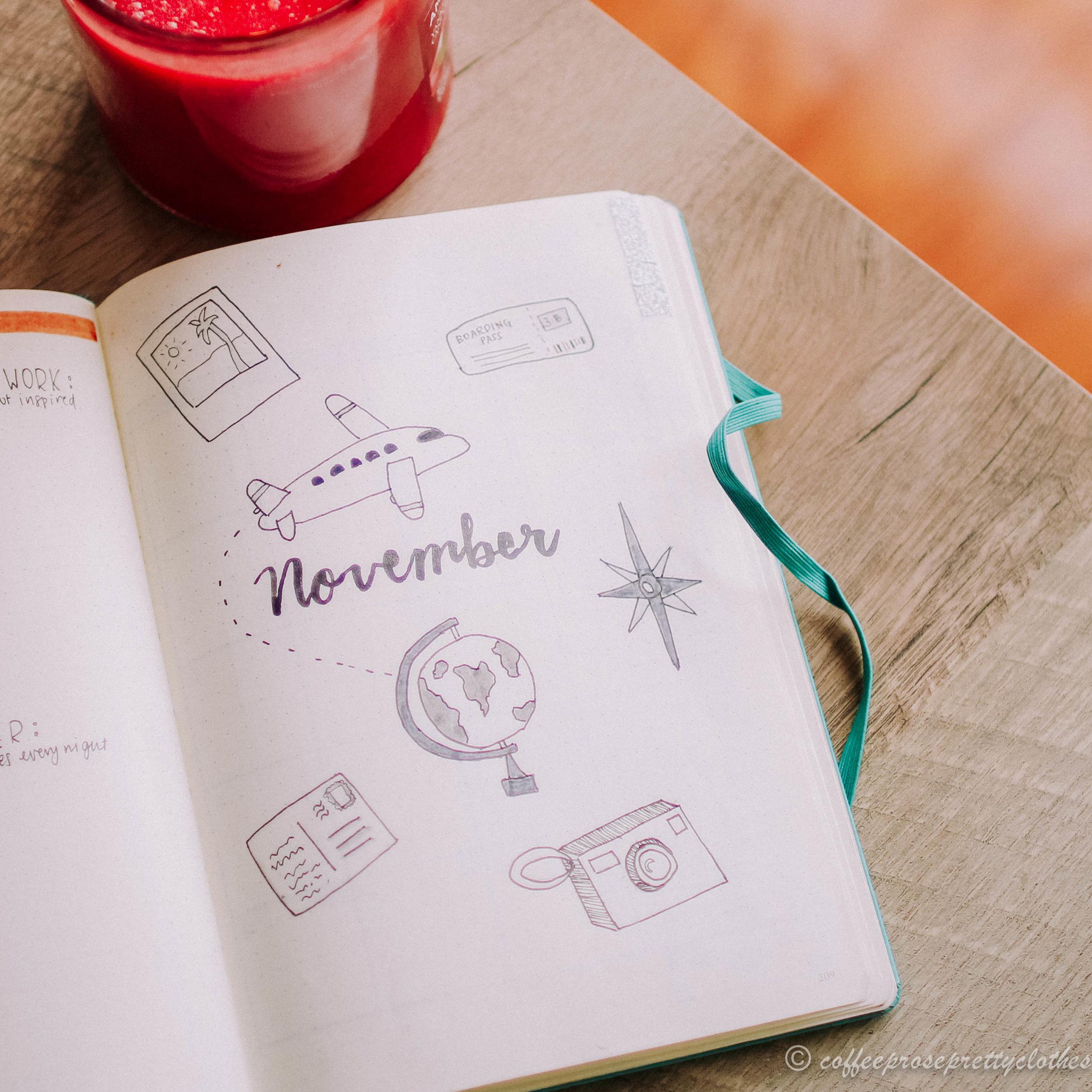 November Travel Theme Bullet Journal