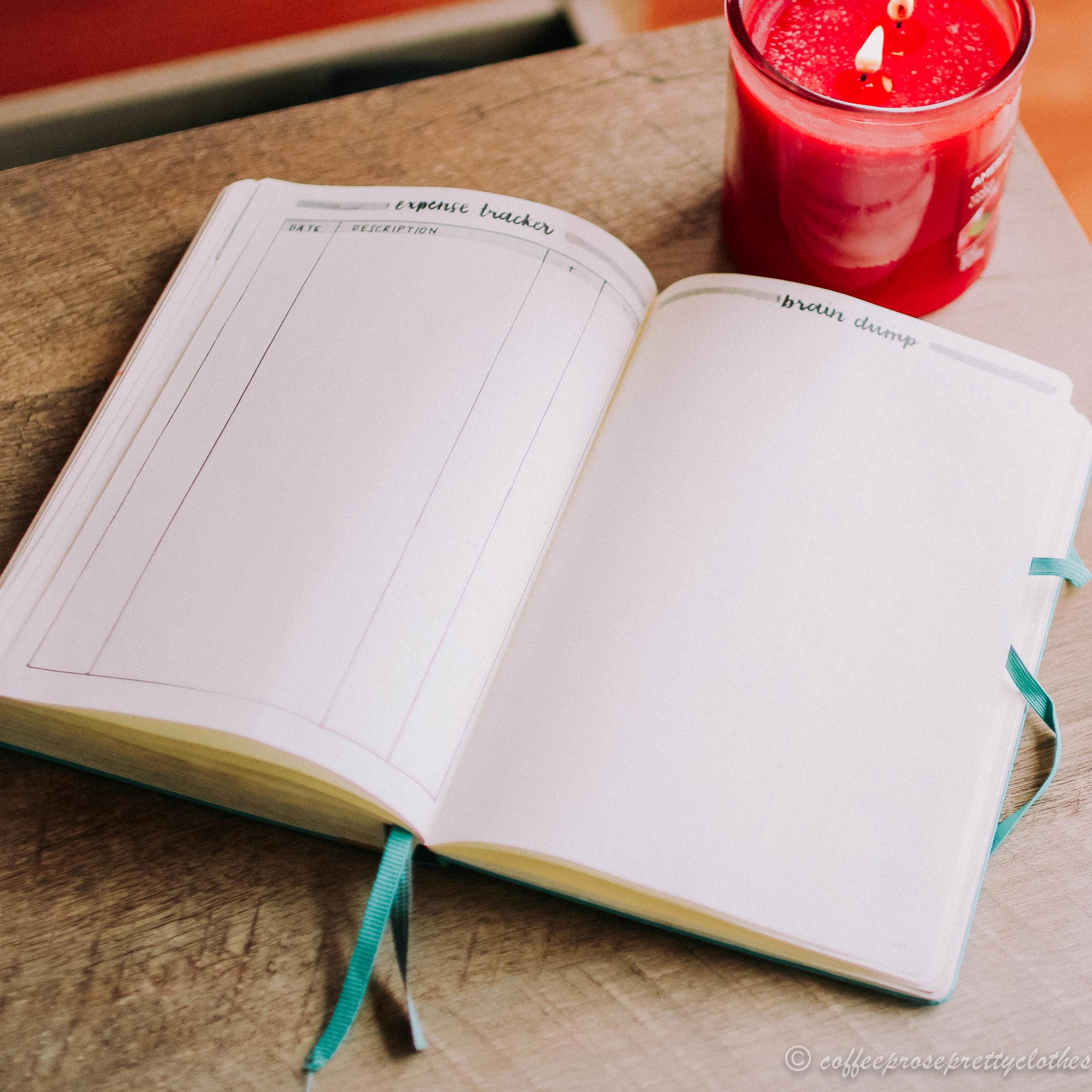 November travel theme bullet journal expense tracker and brain dump