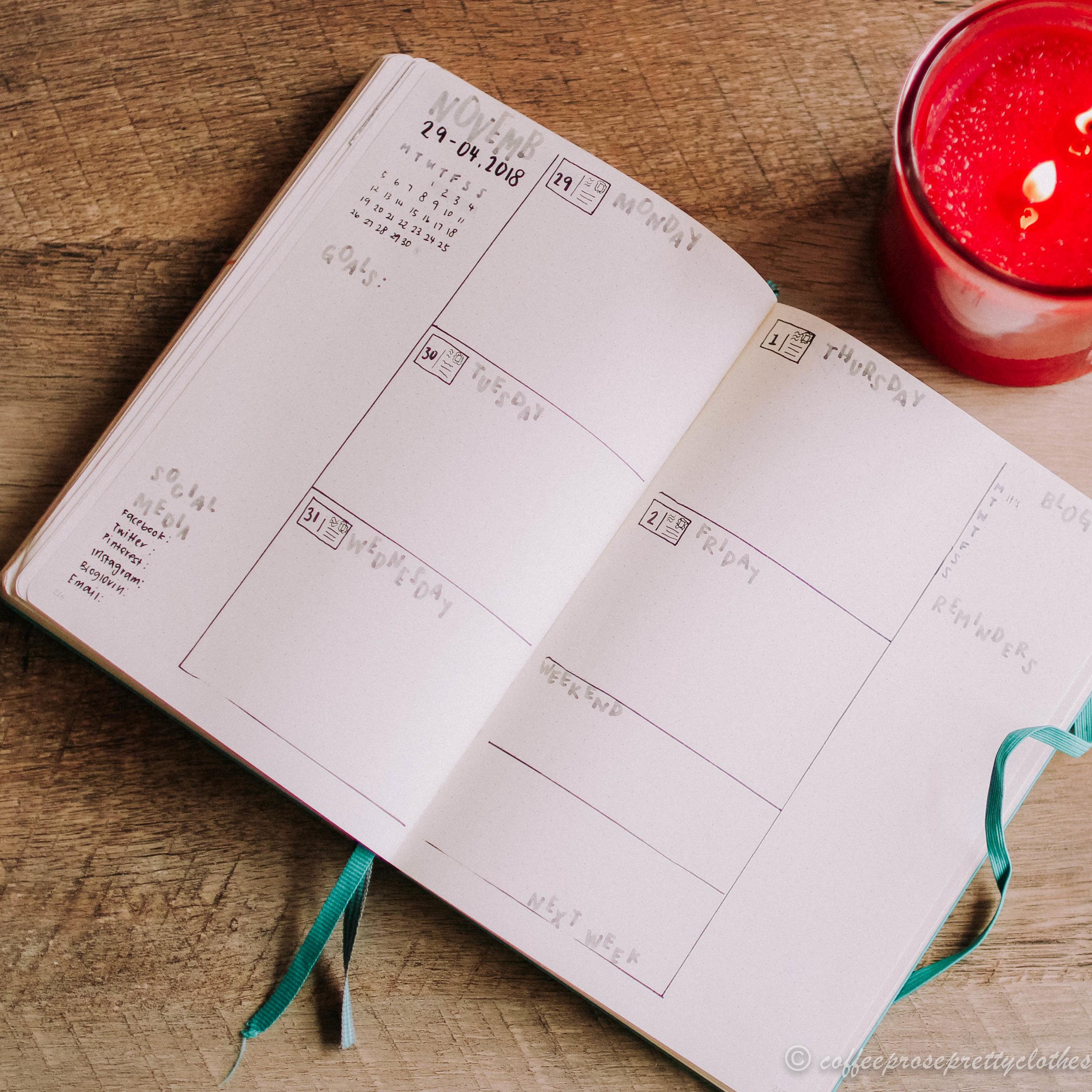 November travel theme bullet journal weekly spread
