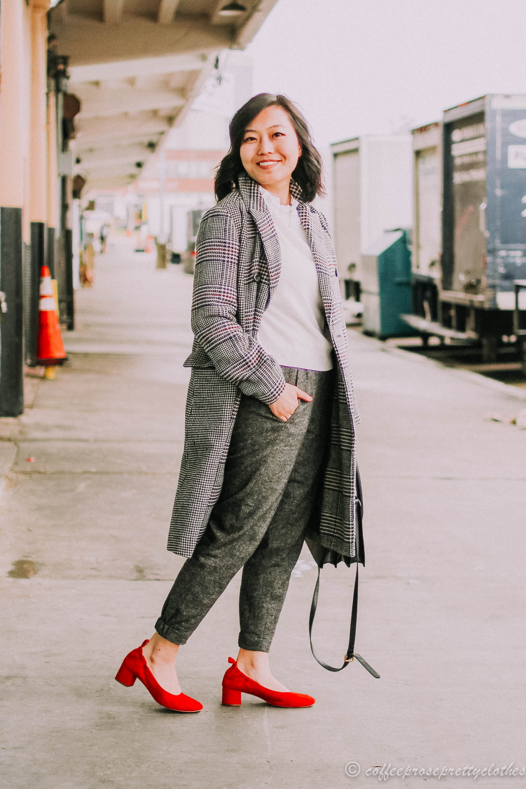 Wool Trousers and Red Everlane Day Heels