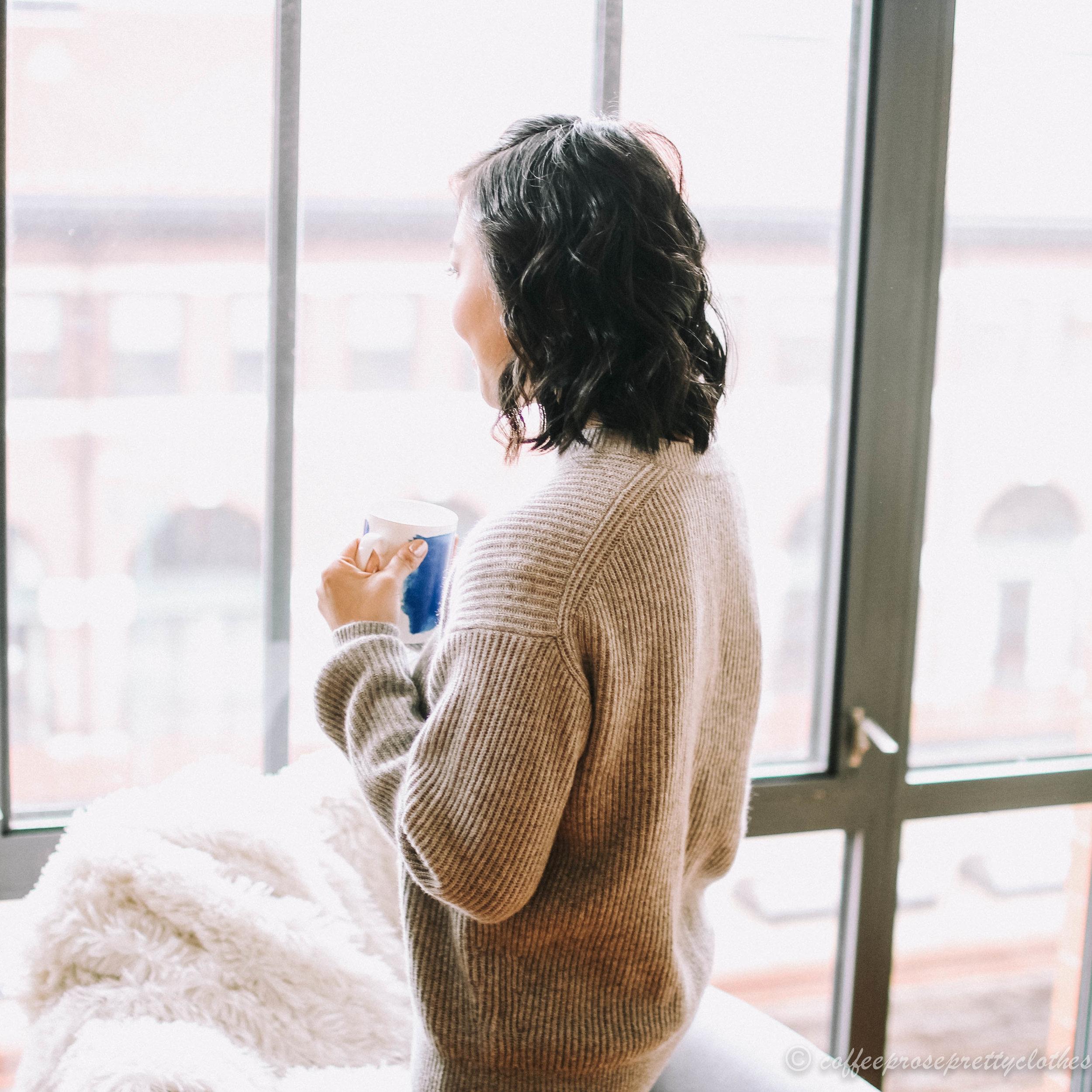 Everlane cashmere ribbed crewneck sweater
