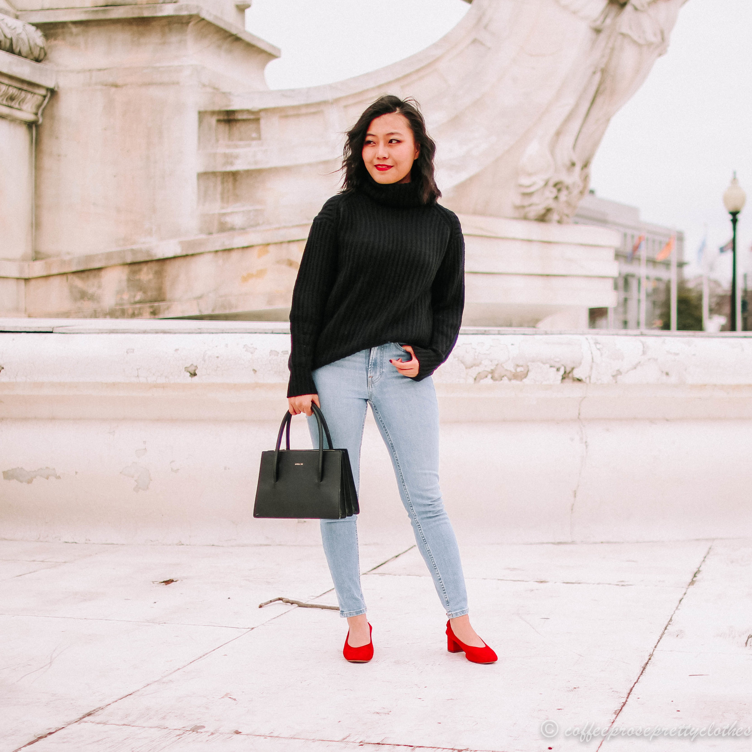 Wool Turtleneck, red Everlane Day Heels, and High Waisted Jeans