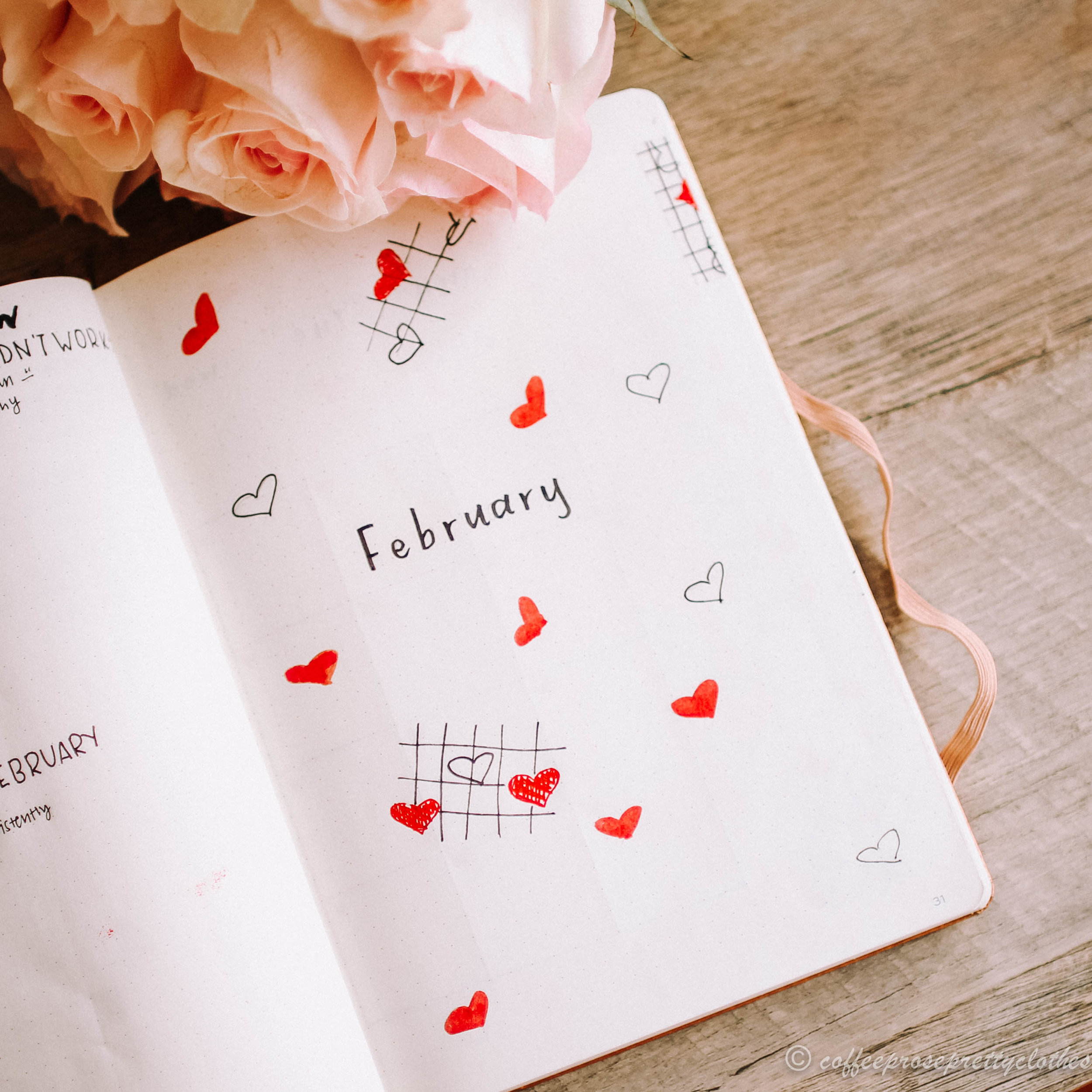 February Bullet Journal Heart Theme