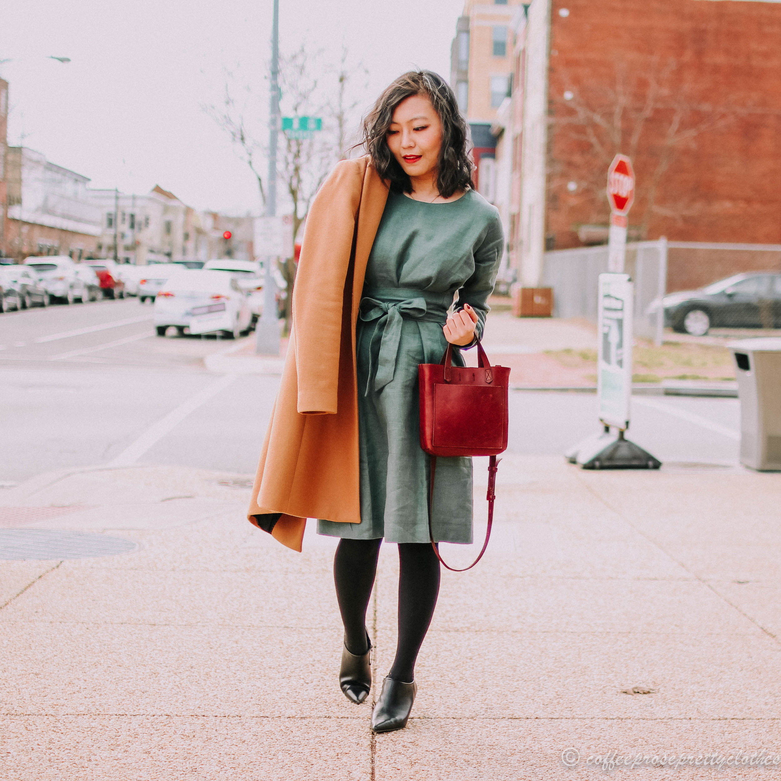 Linen Dress and Structured Coat