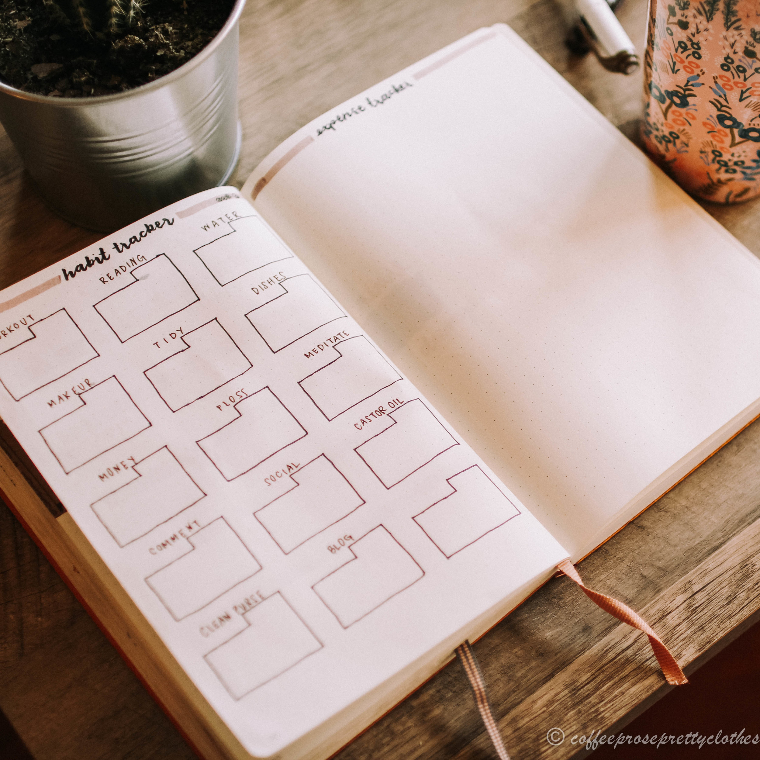 March 2019 Bullet Journal Setup Coffee Theme