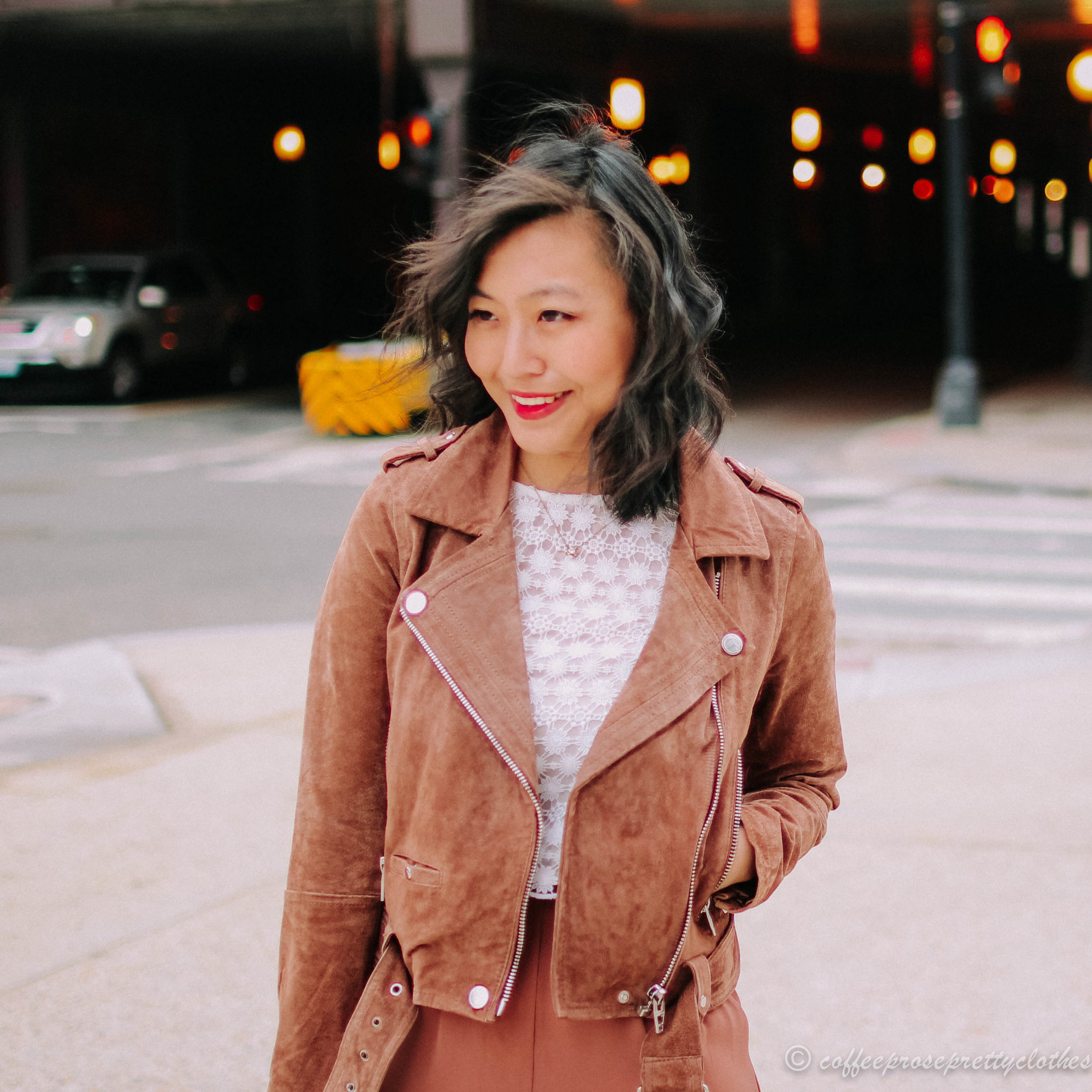 Rose Culottes and BlankNYC Suede Moto Jacket