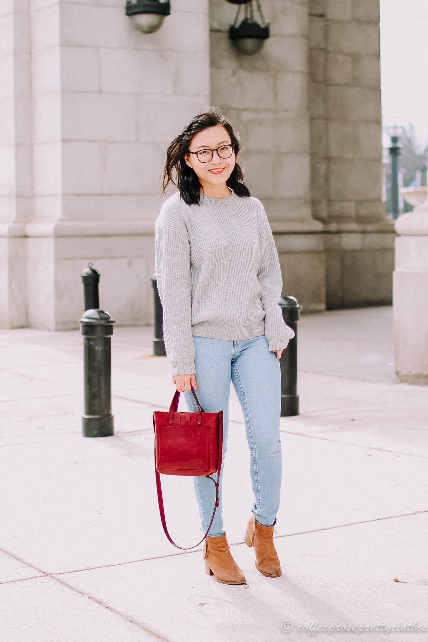 Cashmere Sweater and Warby Parker Frames