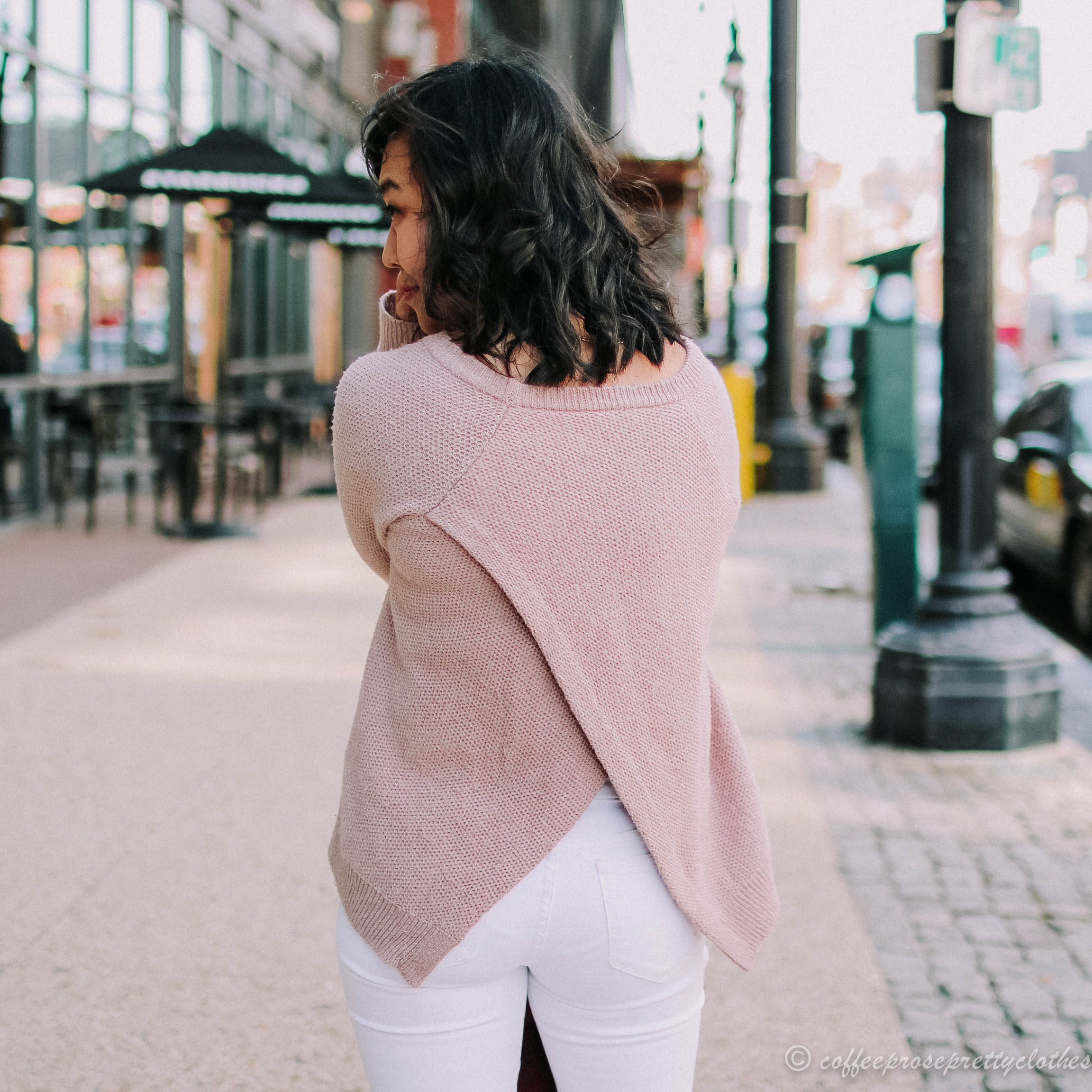Madewell Cross Back Sweater, J.Crew White Jeans, and Madewell the Gemma mules