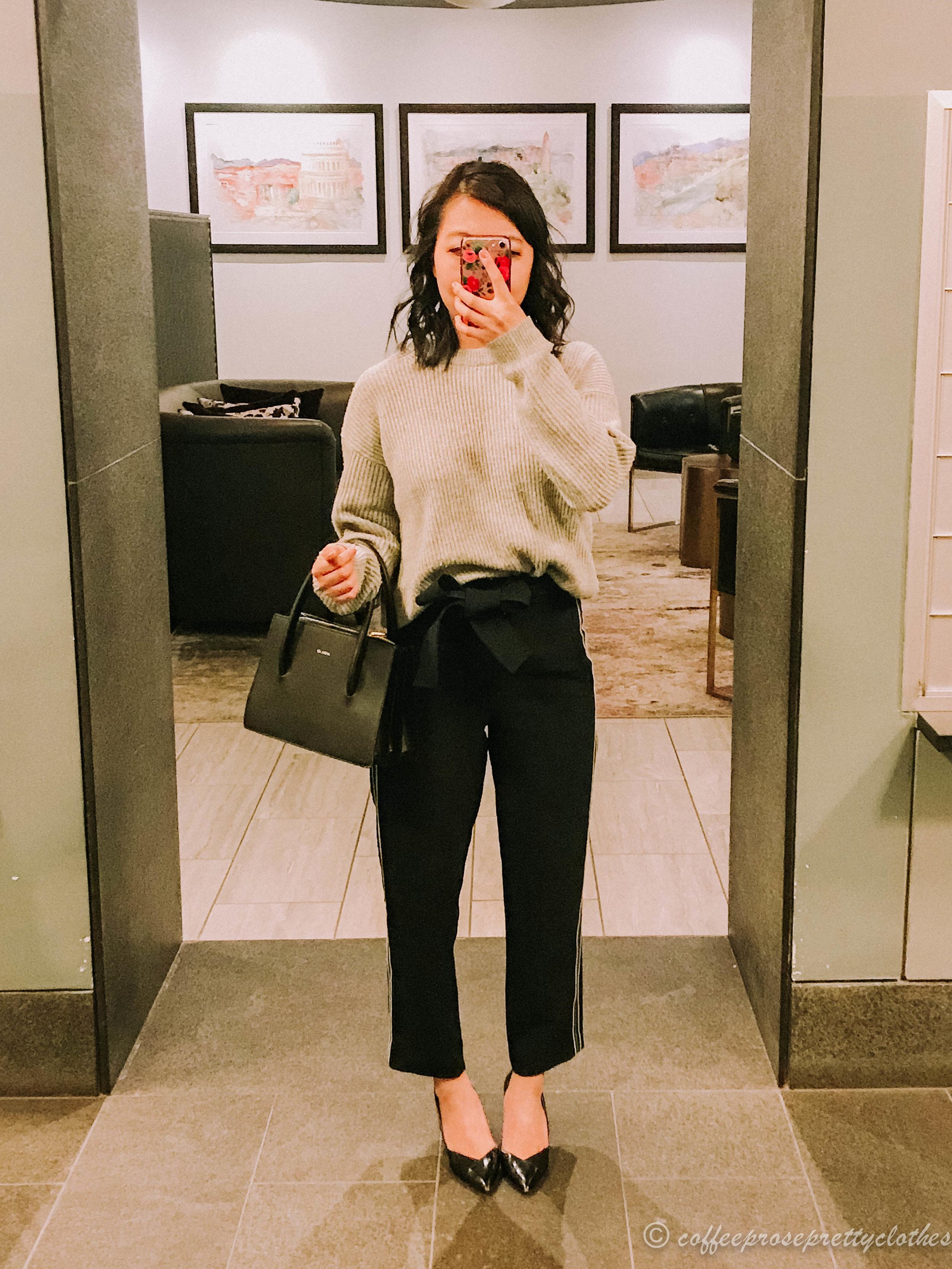 Everlane cashmere sweater Aritzia pants, Angela Roi Eleanor Satchel Zara heels