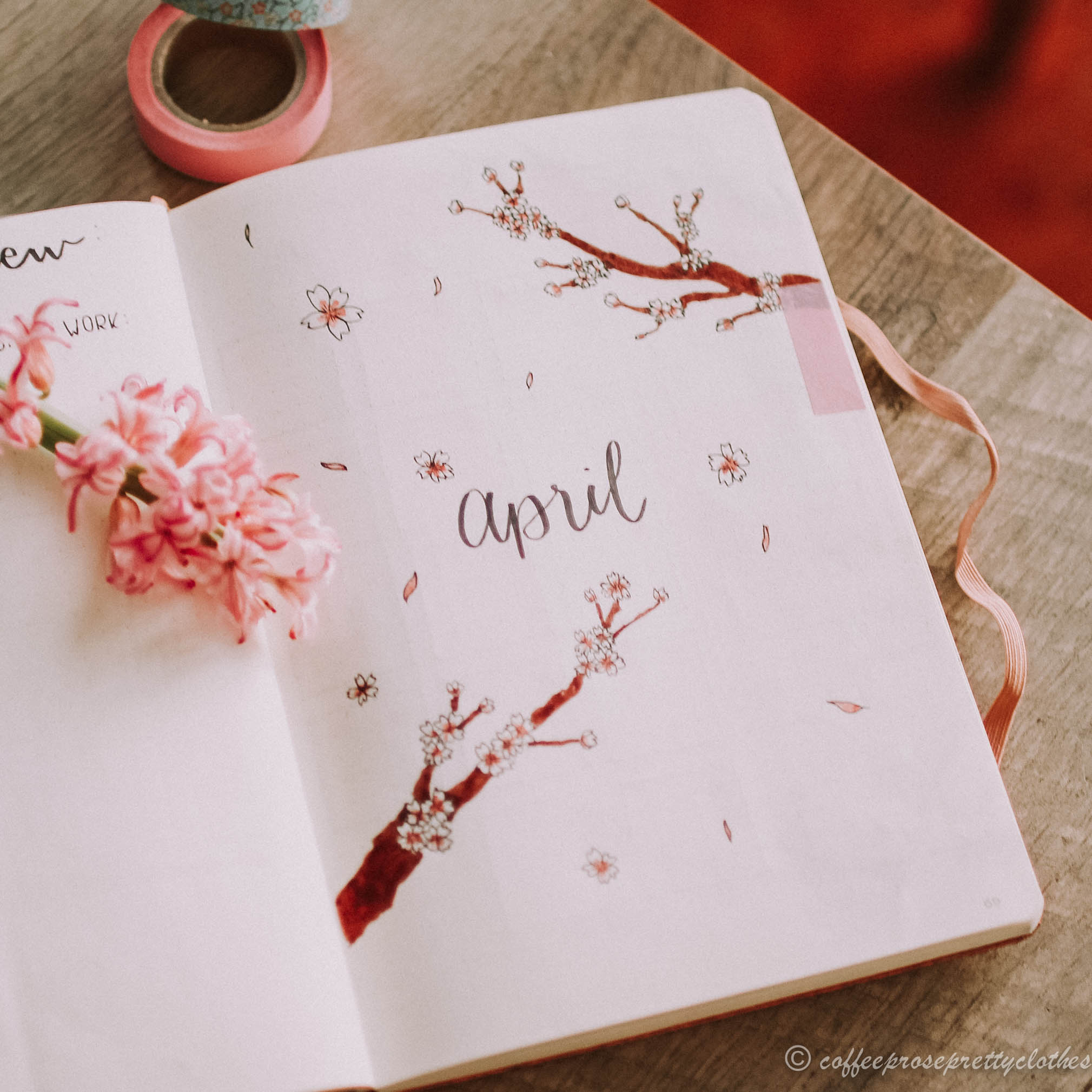 April Bullet Journal Cherry Blossom Theme cover page