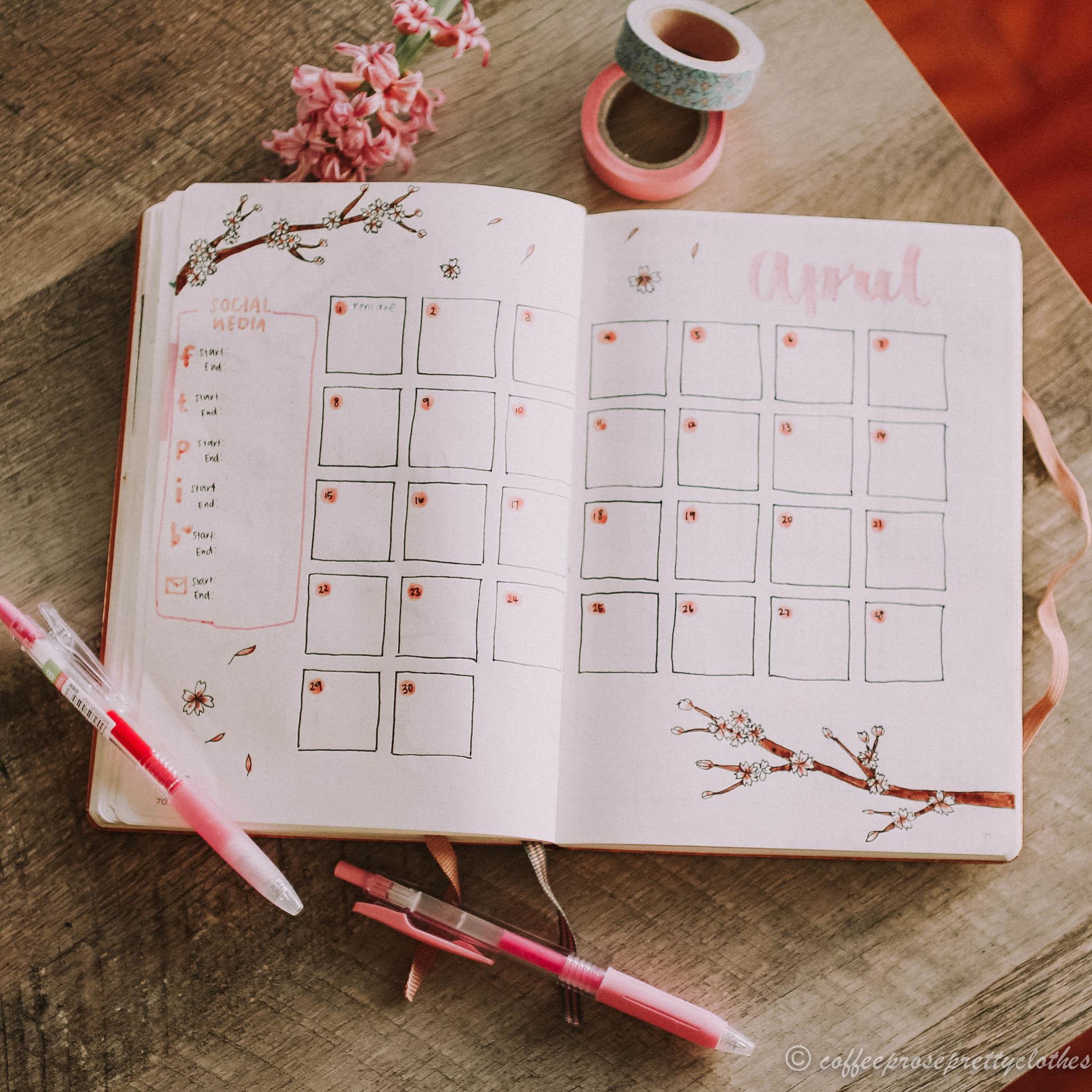 April Bullet Journal Cherry Blossom Theme calendar spread