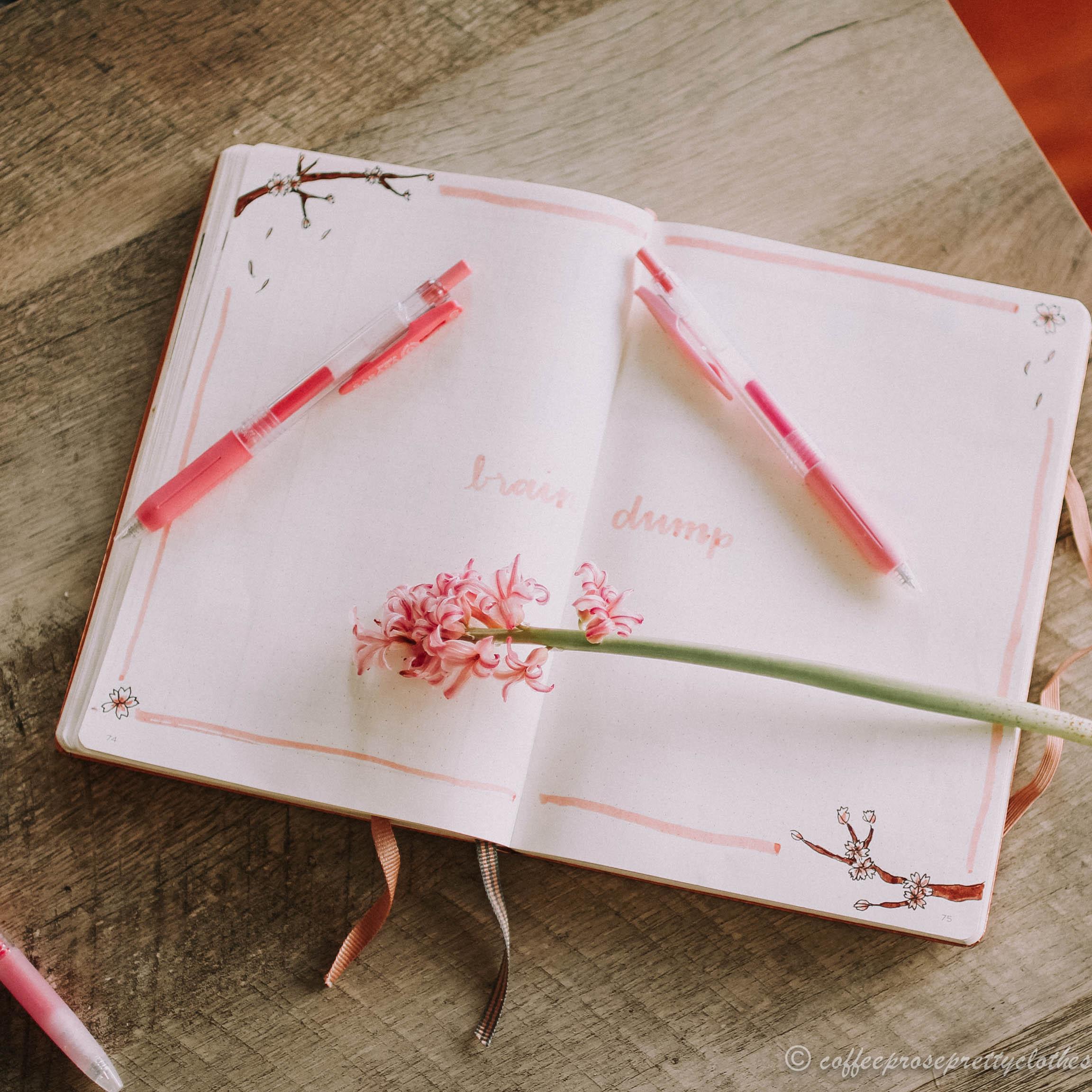April Bullet Journal Cherry Blossom Theme Brain Dump