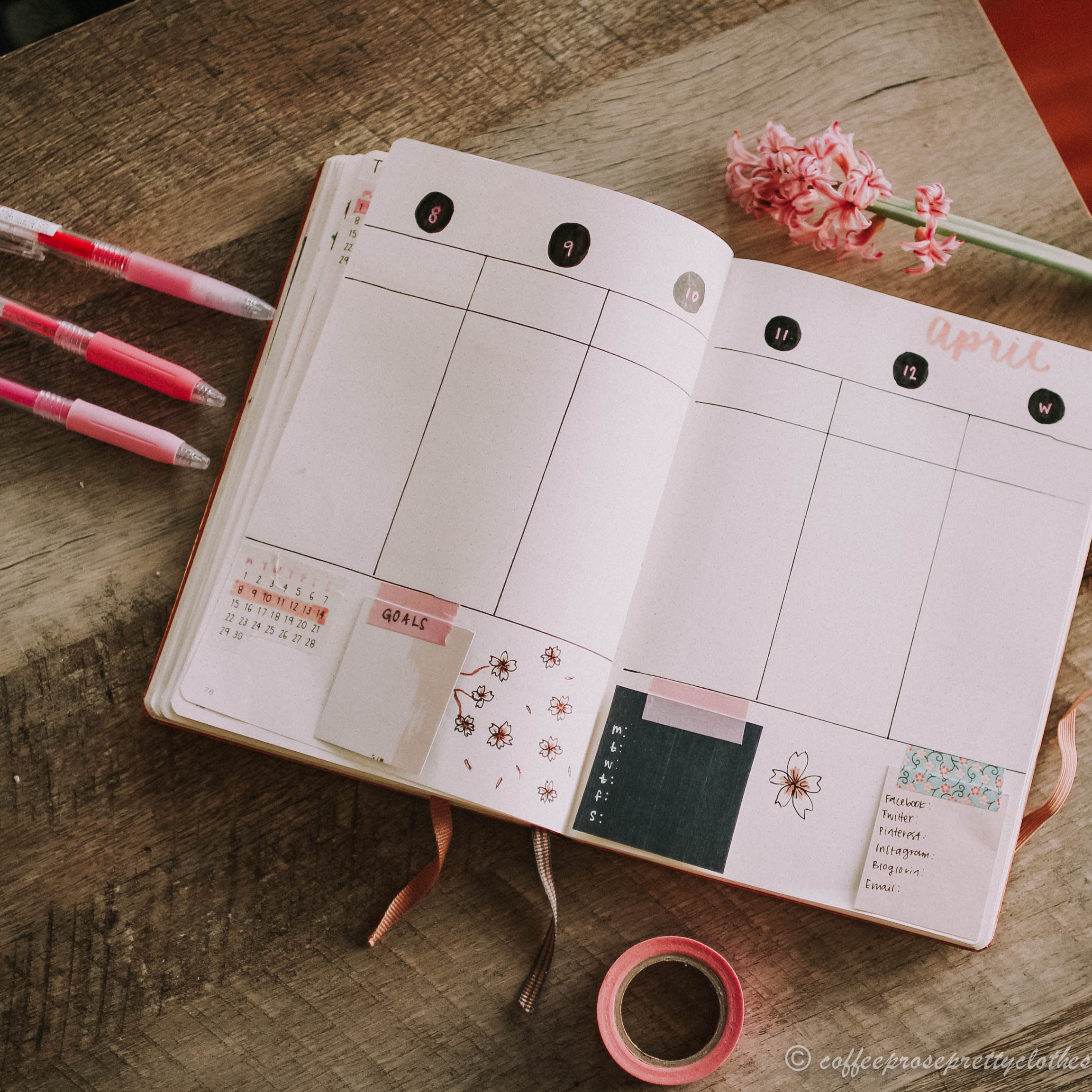 April Bullet Journal Cherry Blossom Theme Weekly Spread