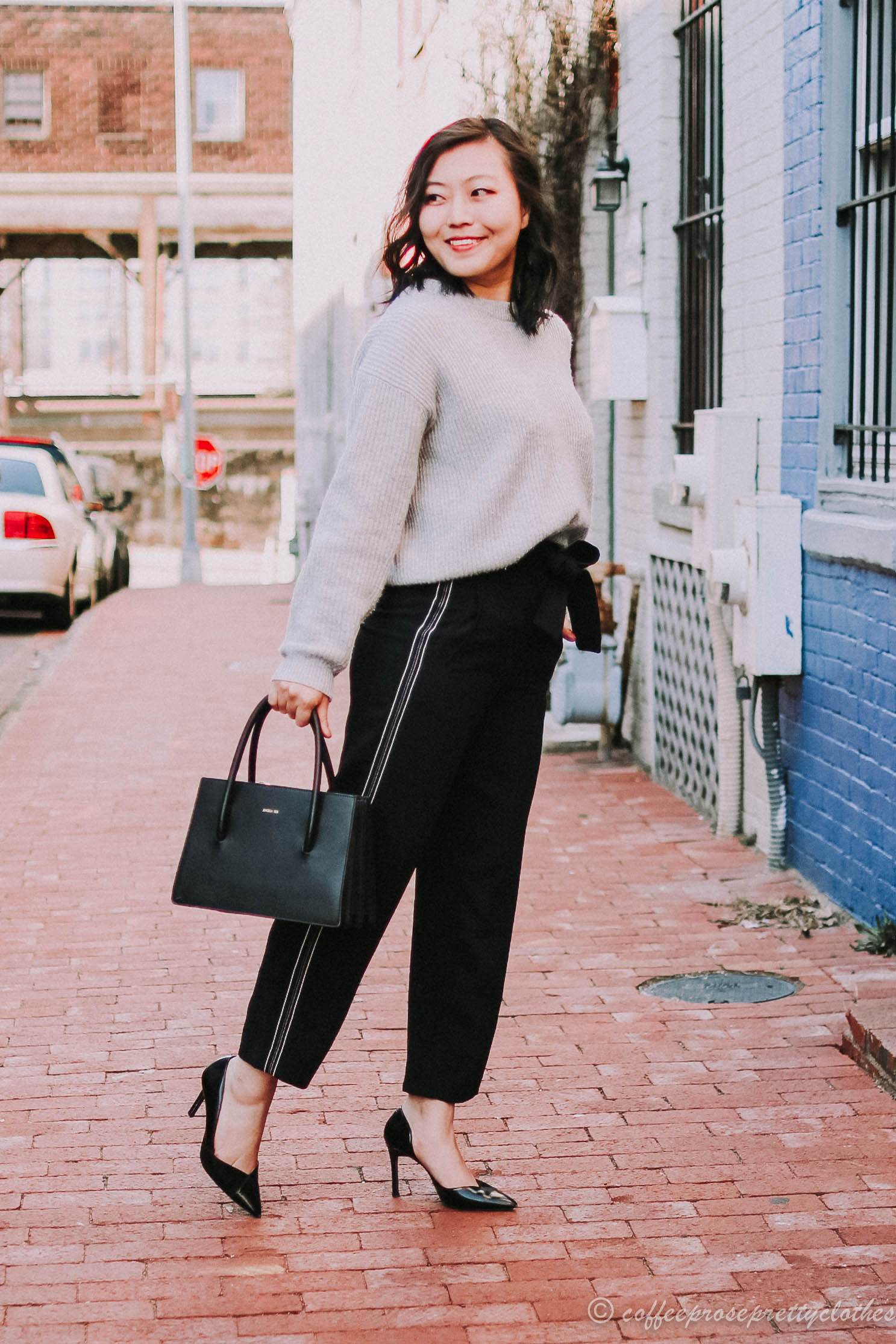 Paper Bag Waist Pants and Cashmere Sweater