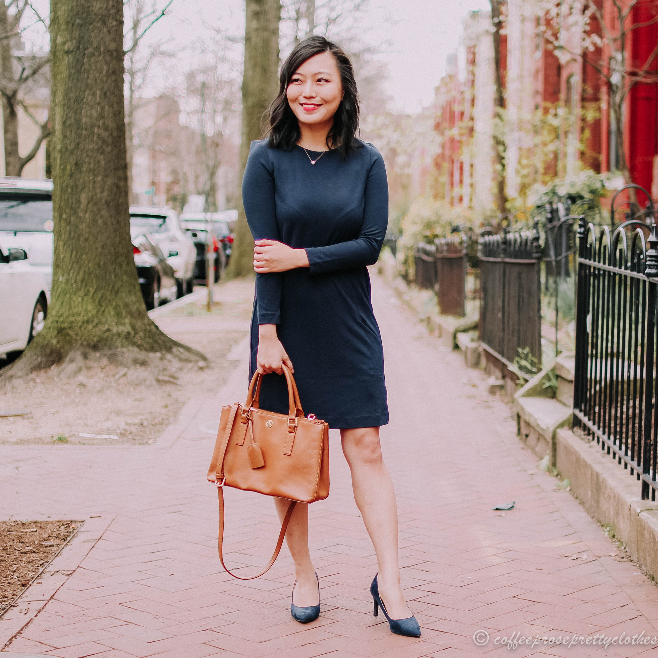 Navy Pencil Dress and Tory Burch Robinson Mini Zip
