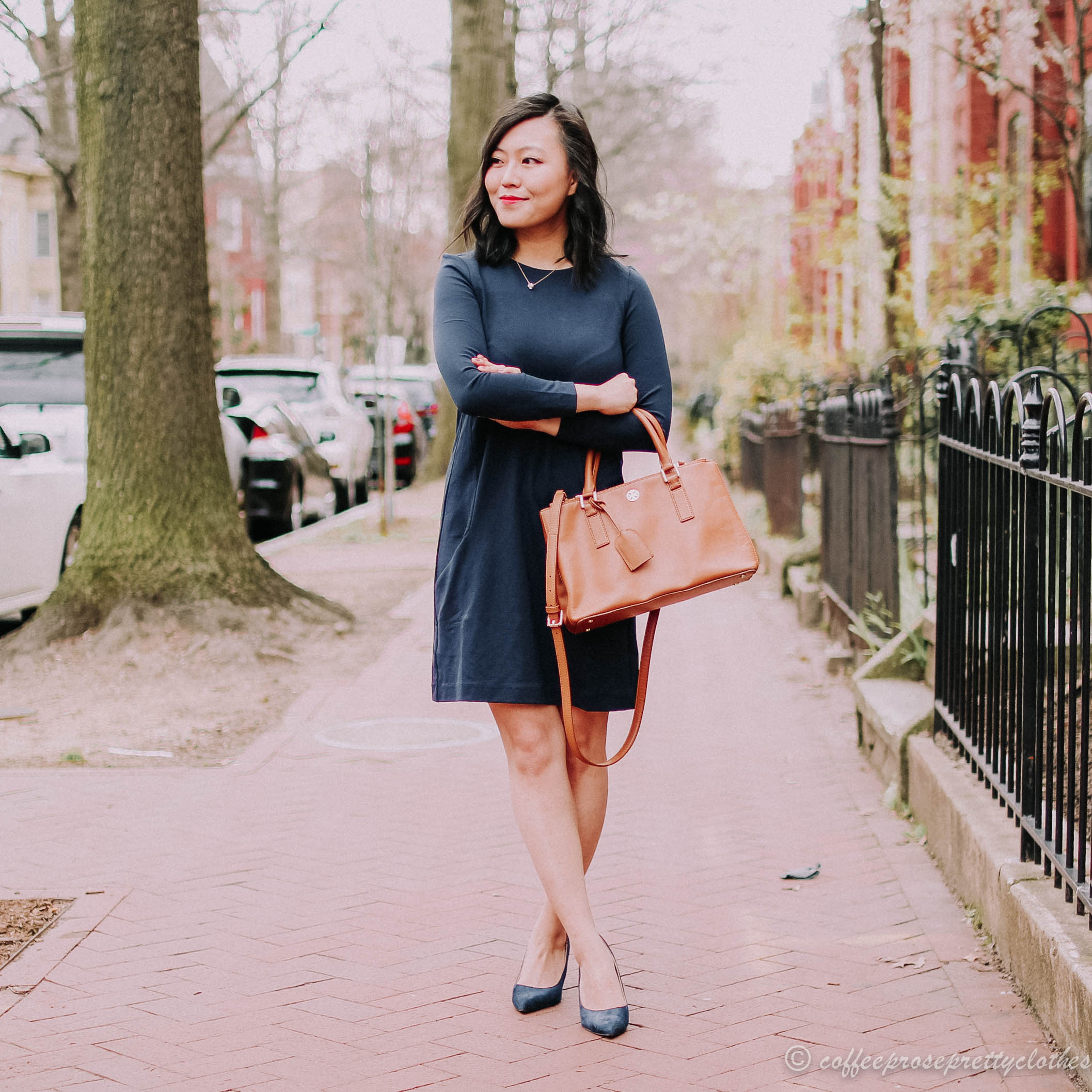 Navy Pencil Dress and Tory Burch Robinson
