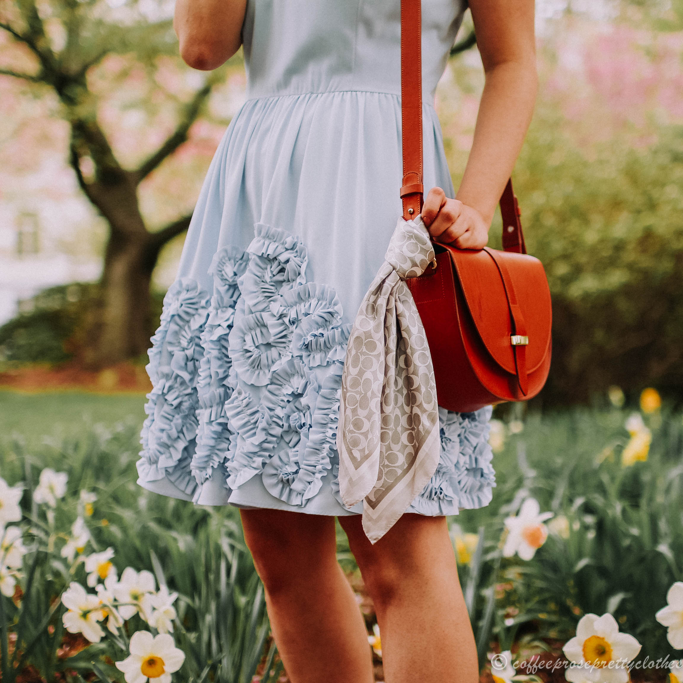 Modcloth dress, Sézane Claude bag, Coach Scarf, Steve Madden Cache in Rose Gold