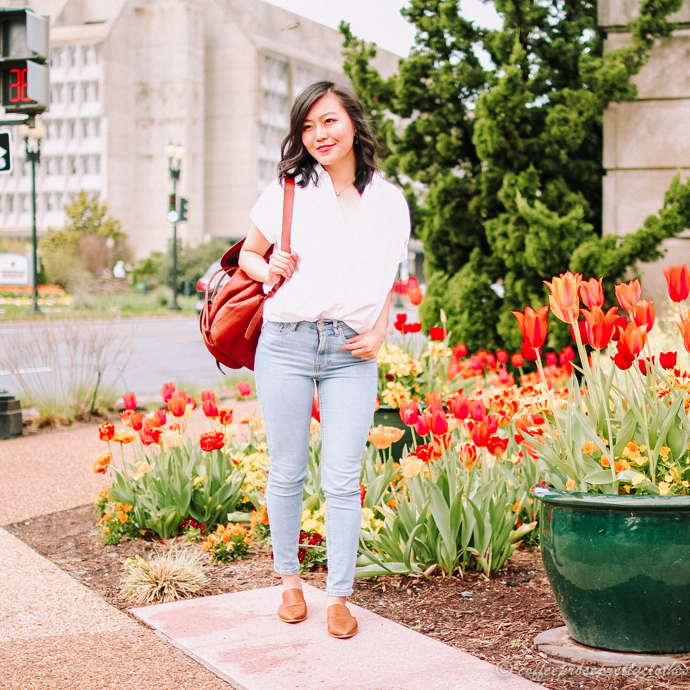 Madewell Central Shirt and Leather Backpack