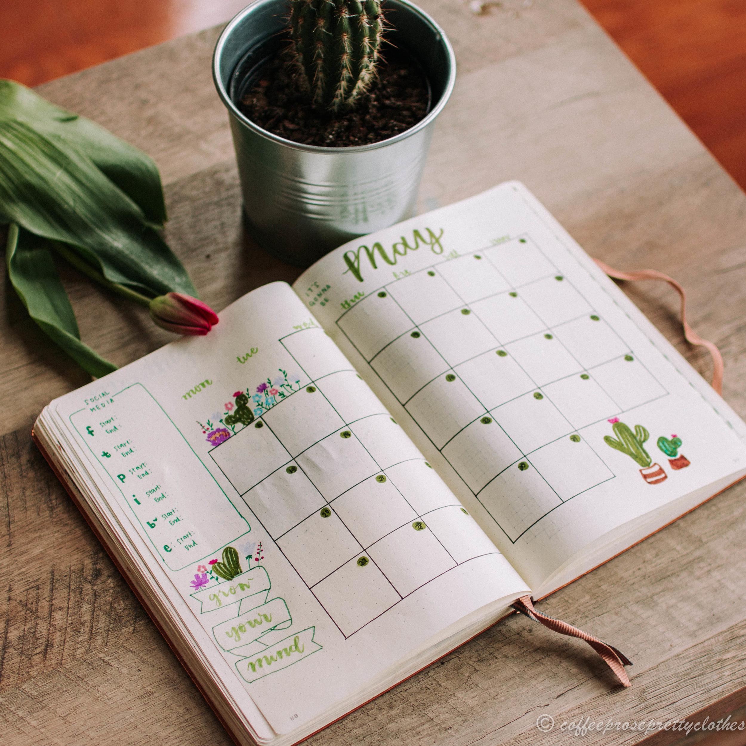 May Bullet Journal Cactus theme Calendar
