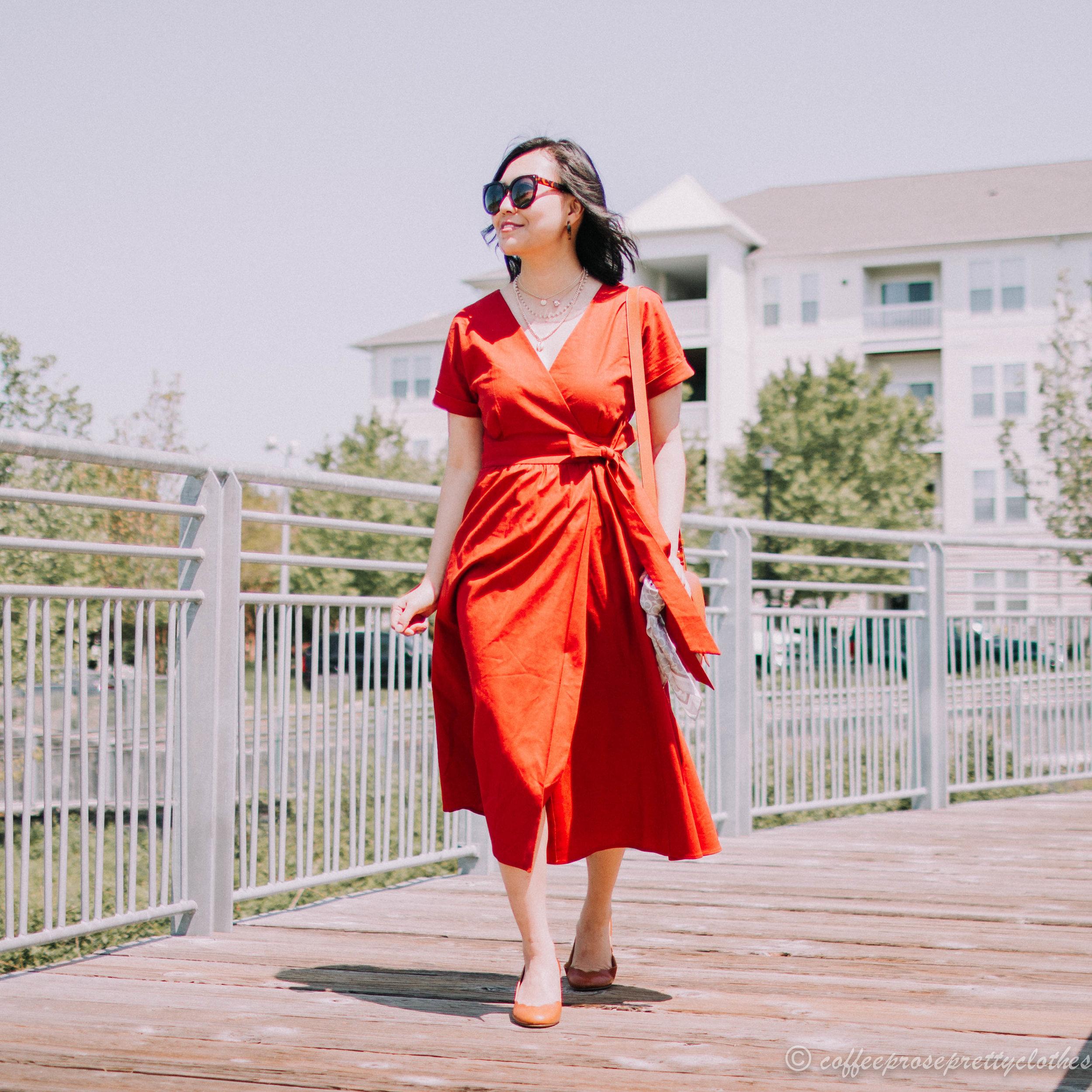 Sézane Marielle Dress and Scalloped Heels