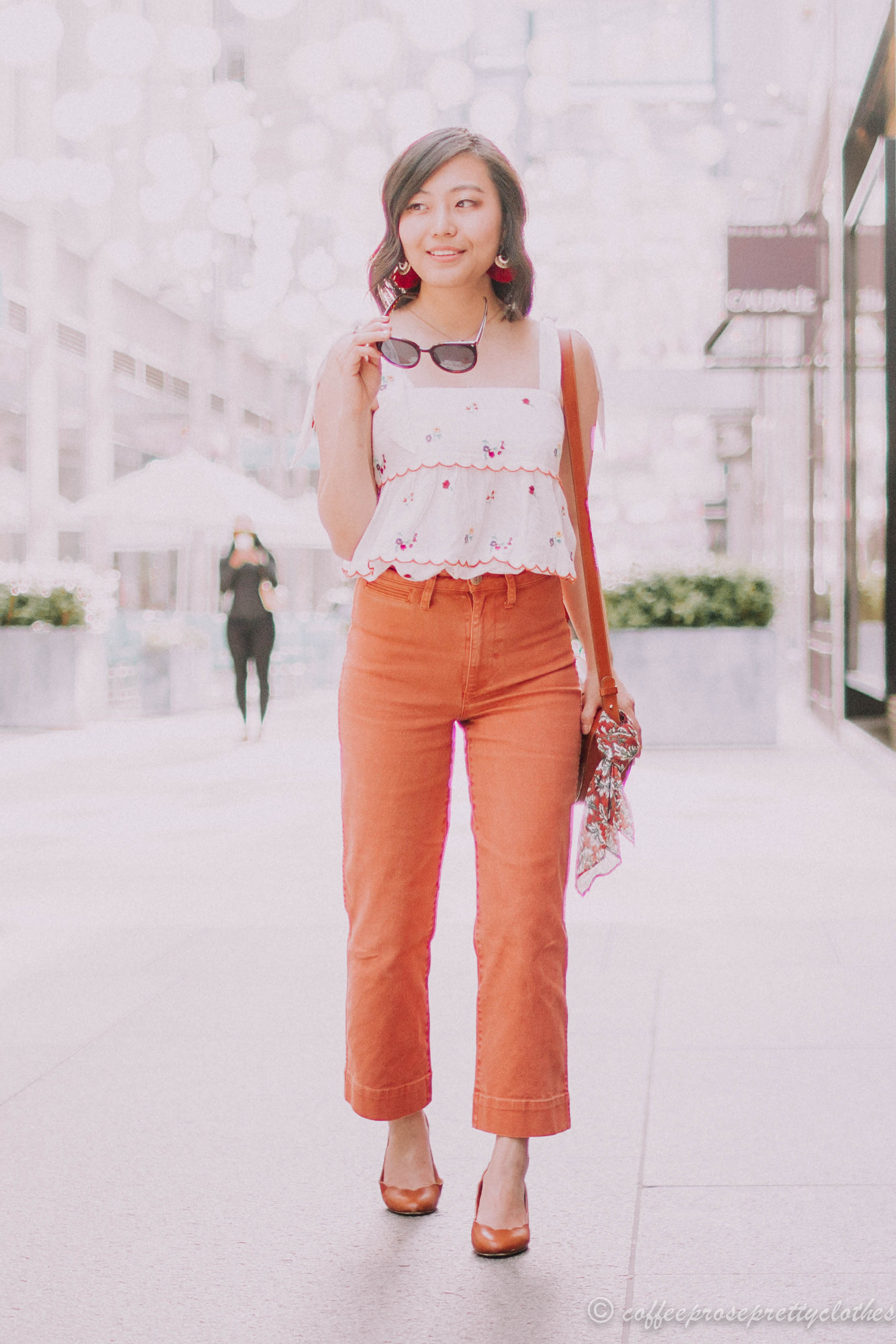 Embroidered Tank and Wide Leg Cropped Jeans