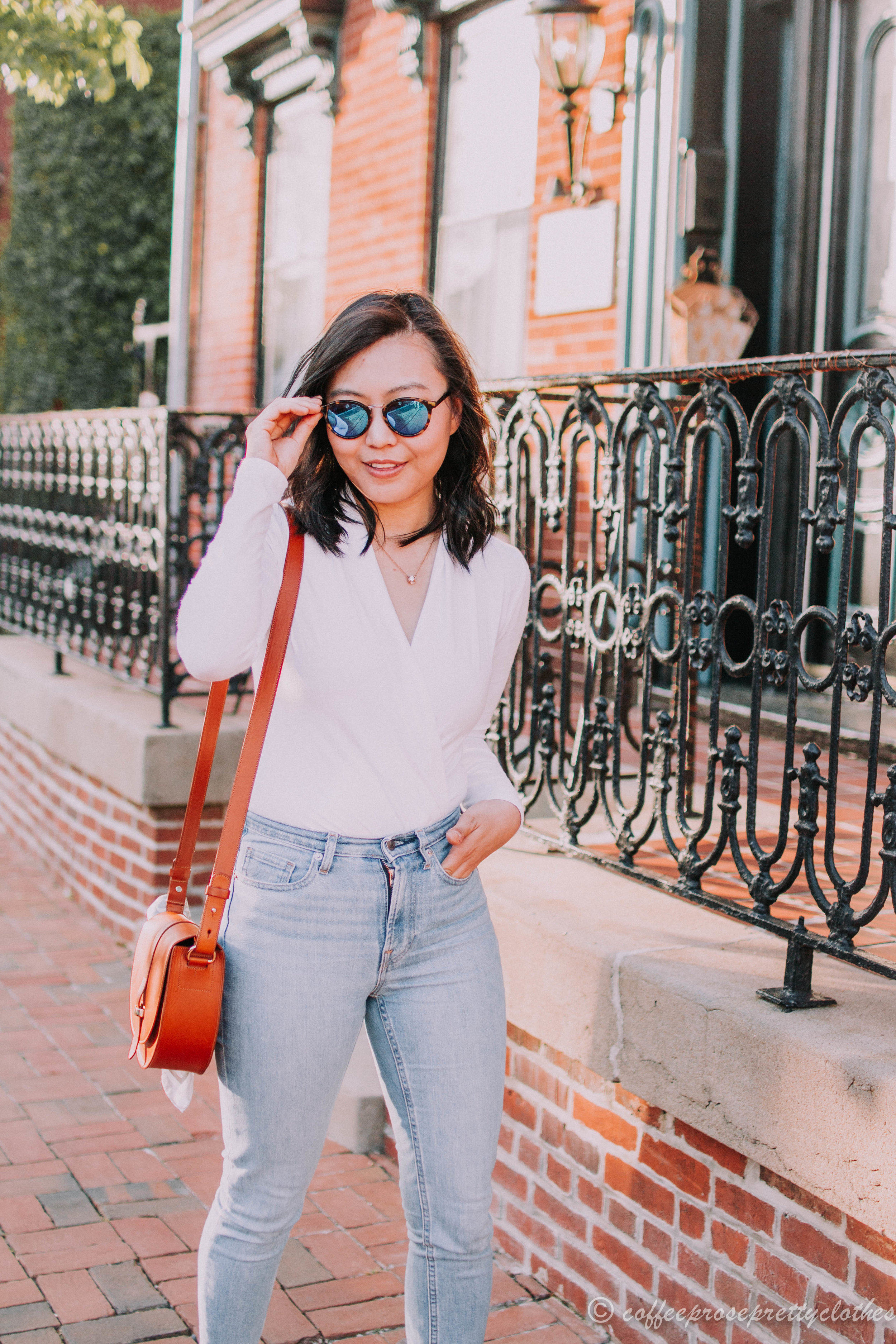 Wrap Bodysuit and High Waisted Jeans