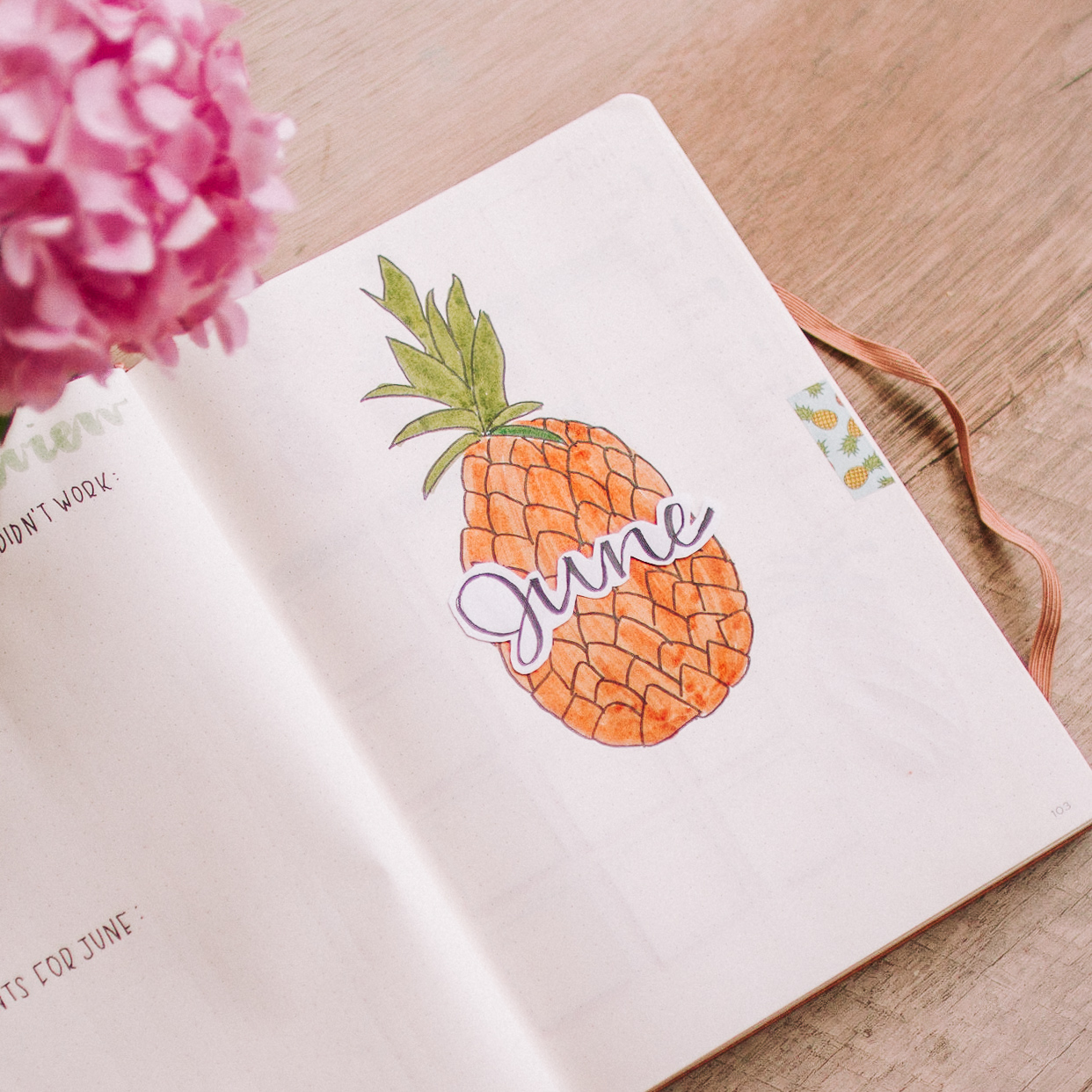 June 2019 bullet journal setup pineapple theme cover page