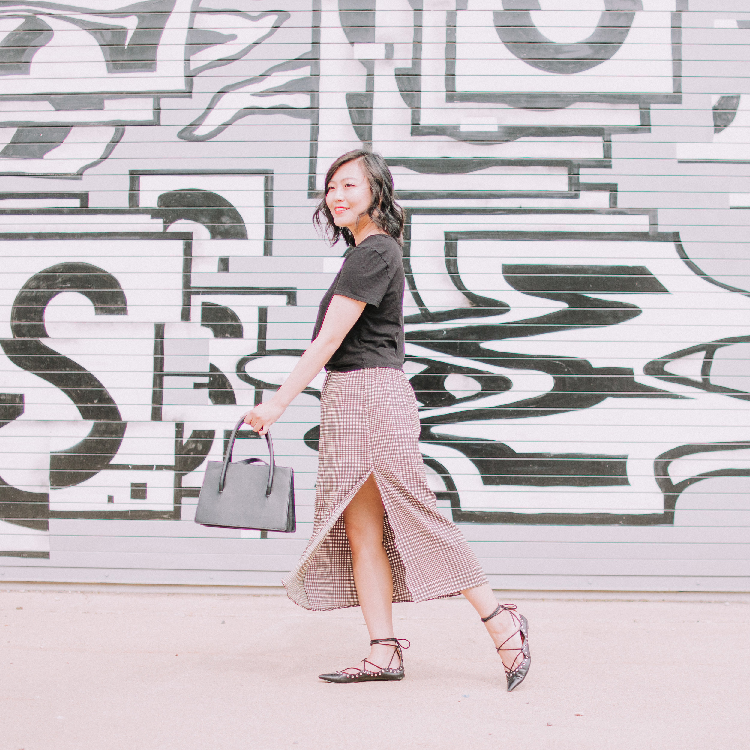 Cropped Tee and Checked Midi Skirt