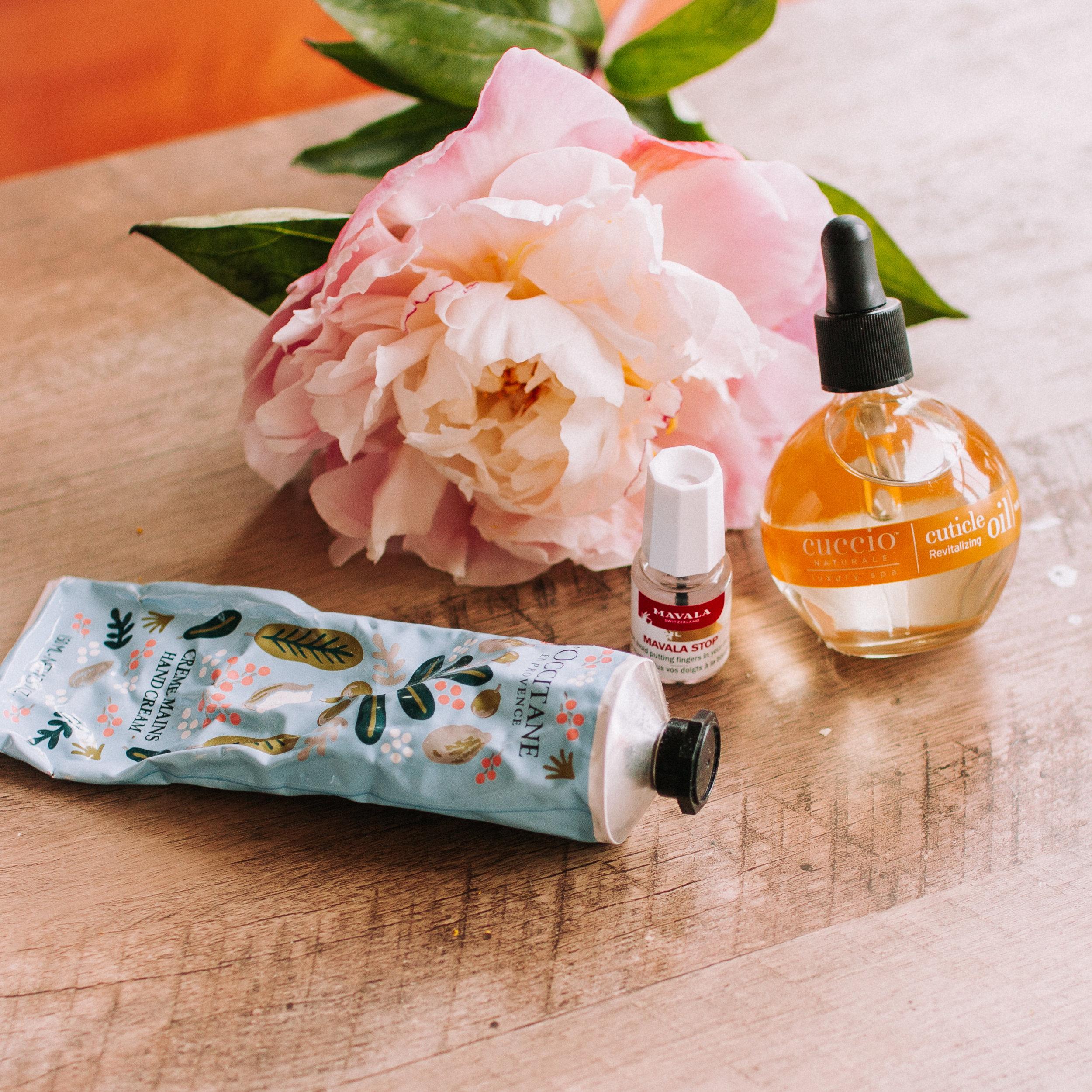 Mavala Stop nail biting, Cuticle Oil, L'Occitane Rifle Paper Co hand lotion