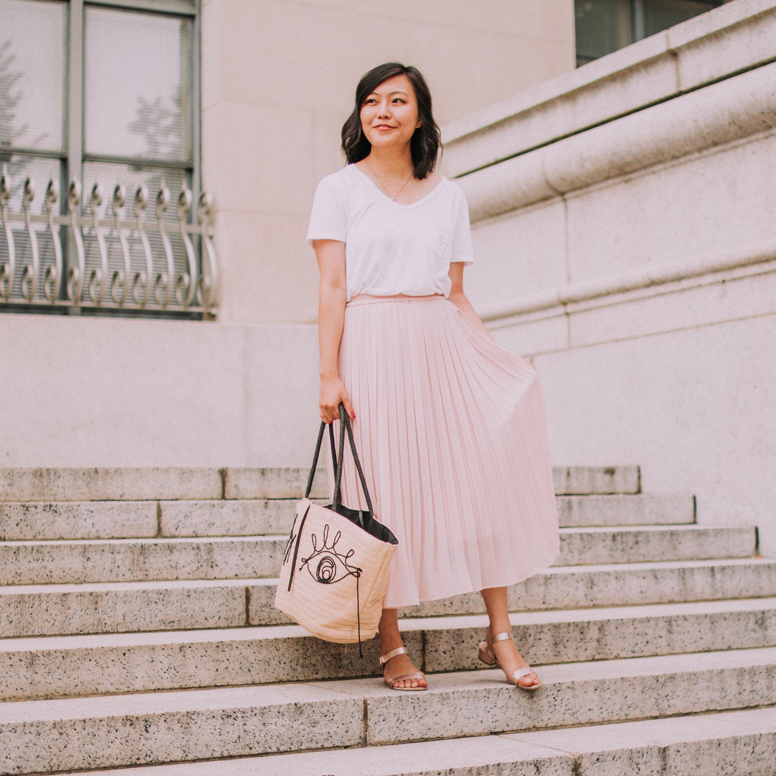 Pleated Midi Skirt and White Tee