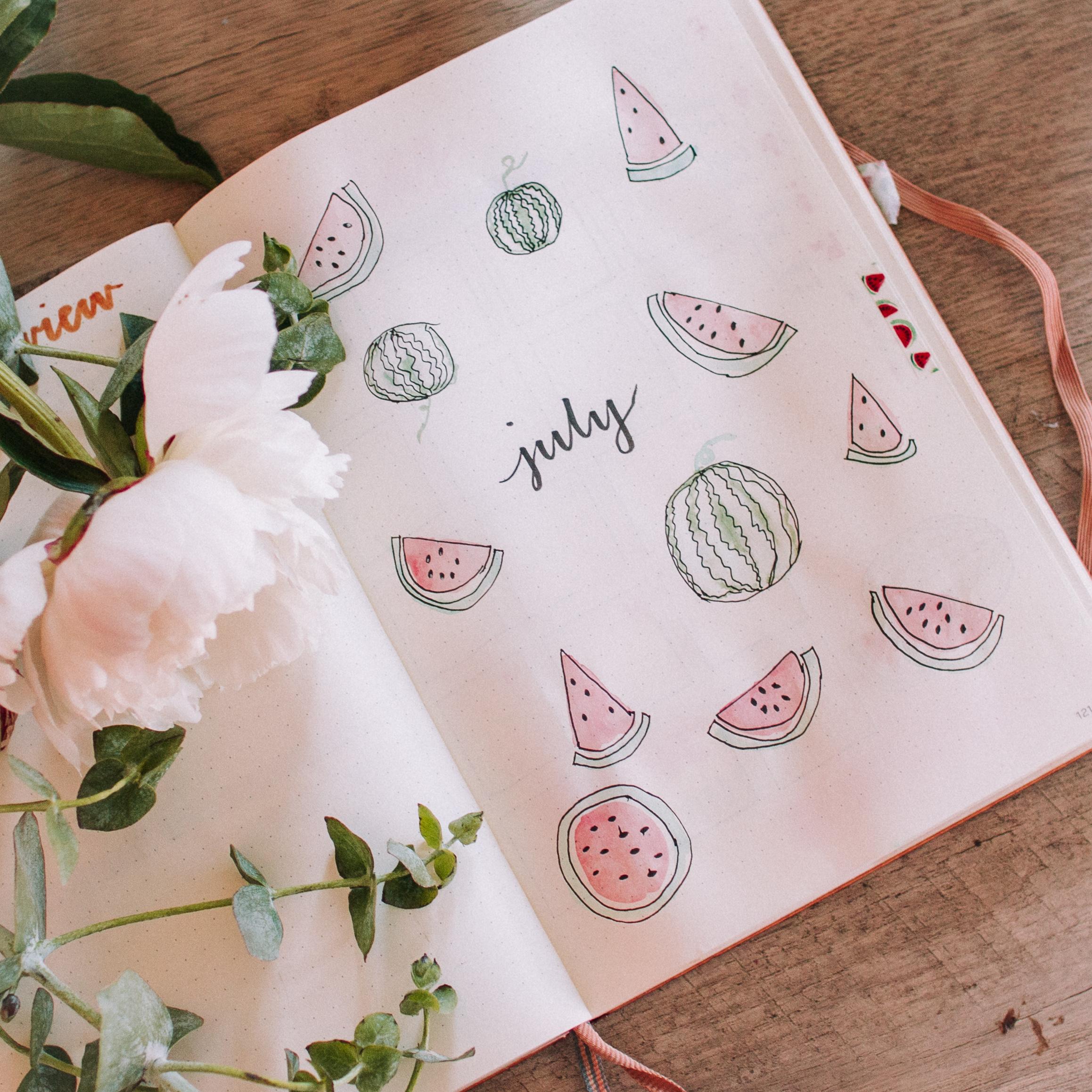 July Watermelon Theme Bullet Journal Setup