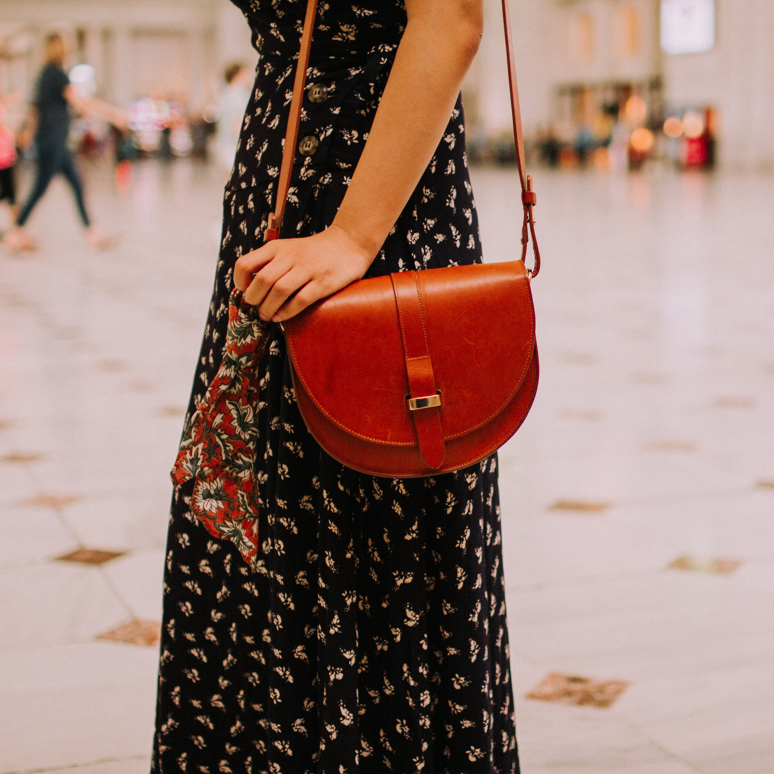 Wrap Maxi Dress and Leather Handbag