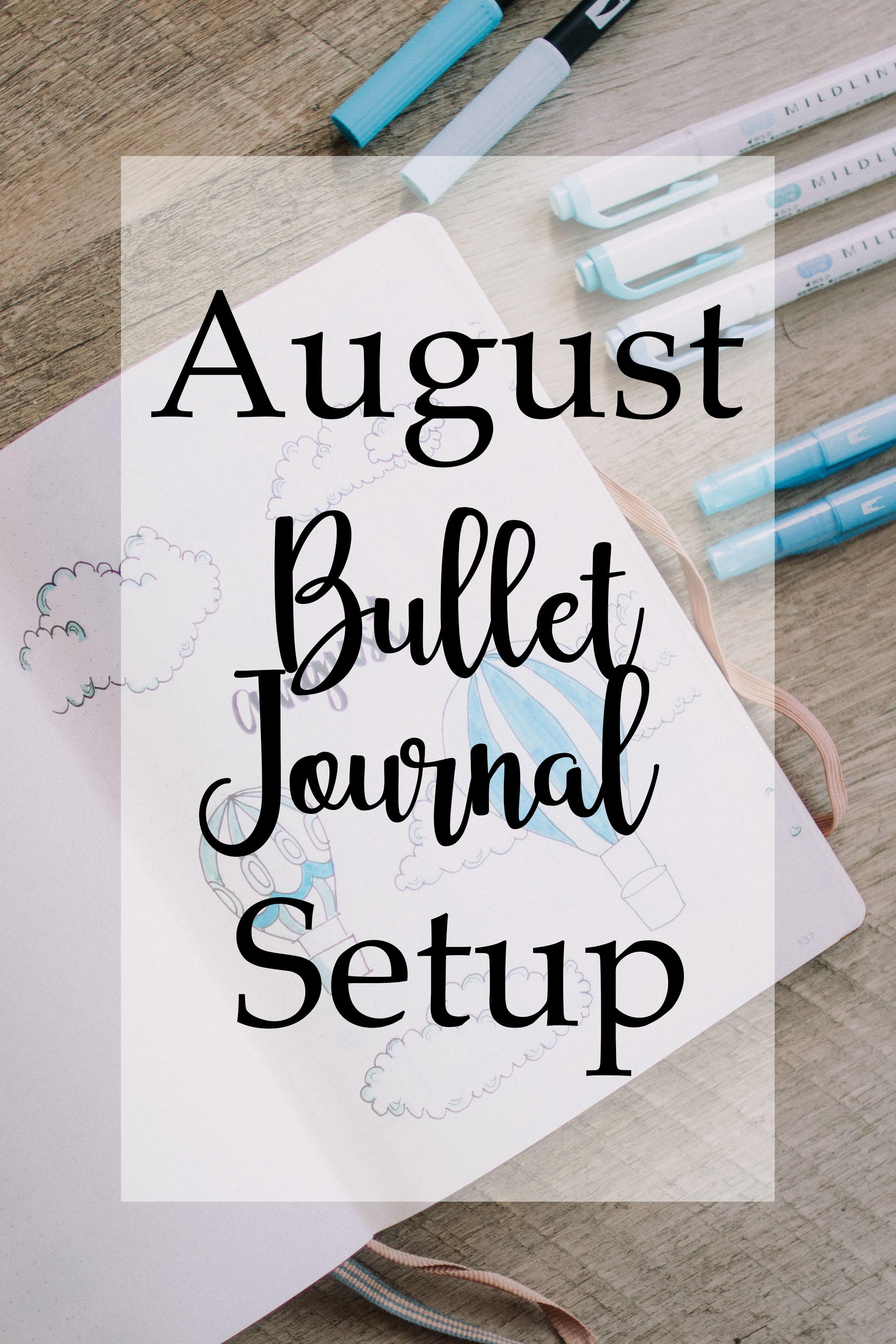 August Bullet Journal cloud hot air balloon theme