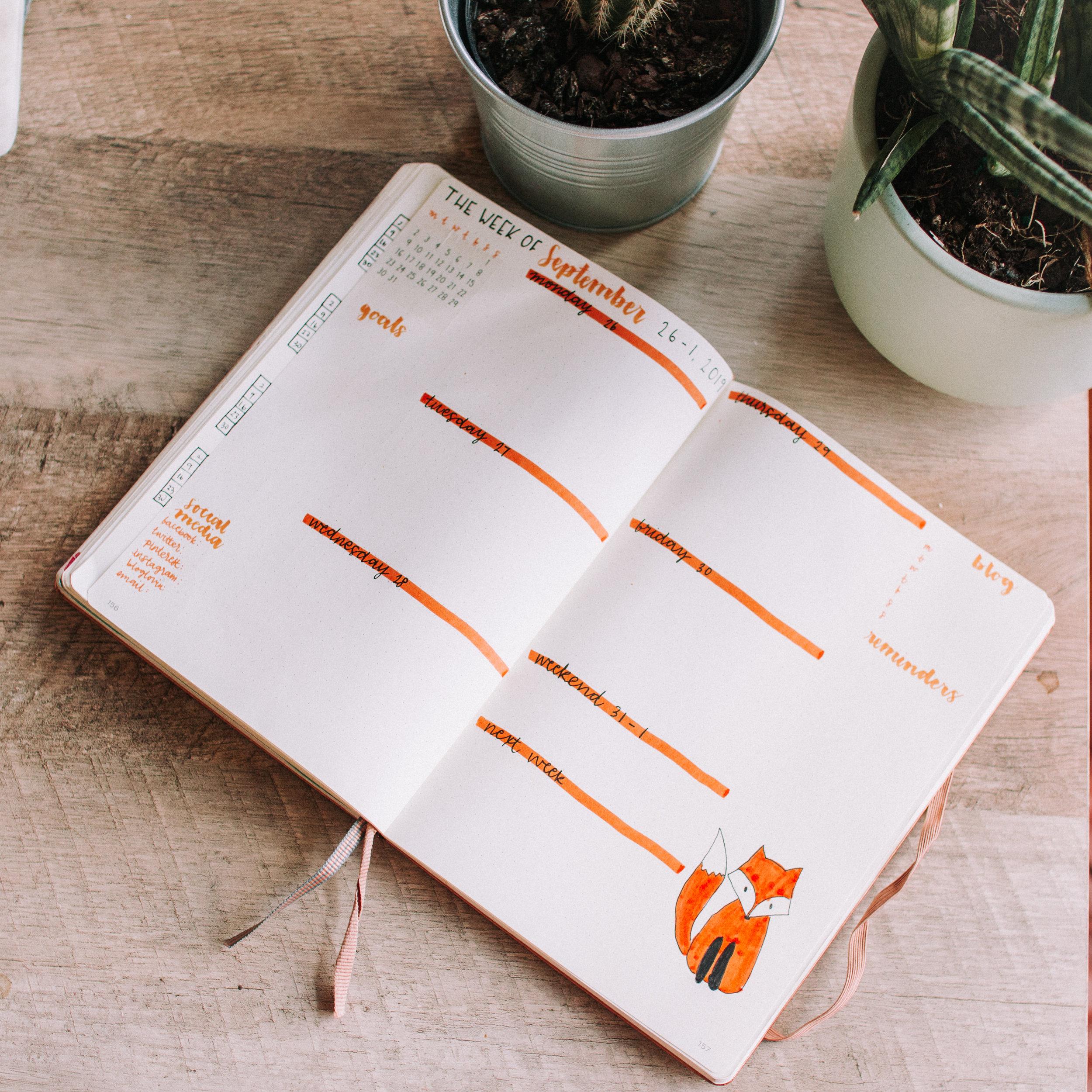 September Bullet Journal Fox theme