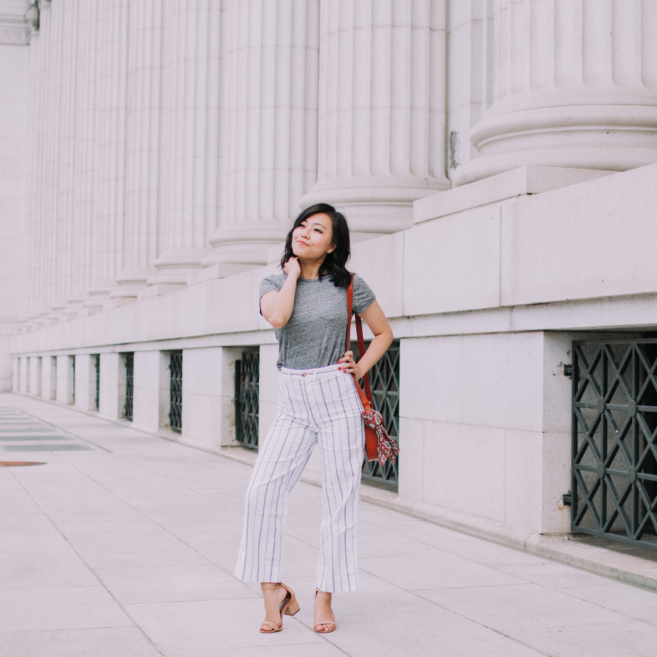 Striped Wide Leg Pants and Gray Tee